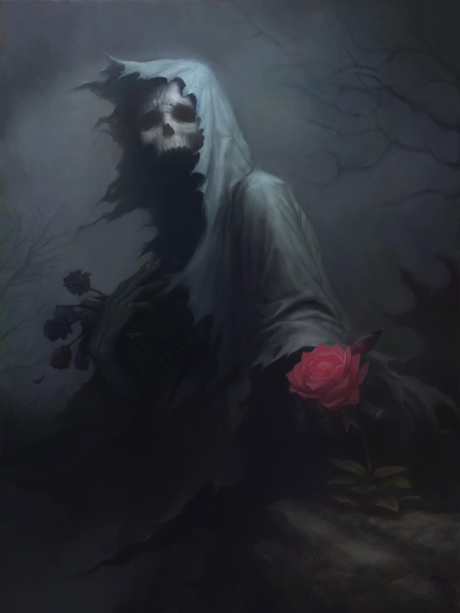 Wallpaper Drawing Fantasy Art Dark Rose Skull Death