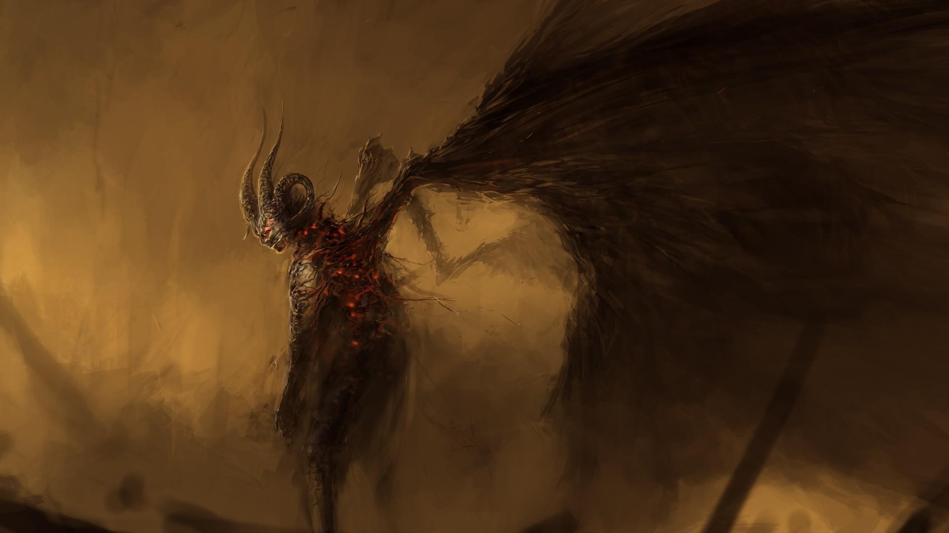 wallpaper : drawing, fantasy art, wings, horns, dark fantasy, demon