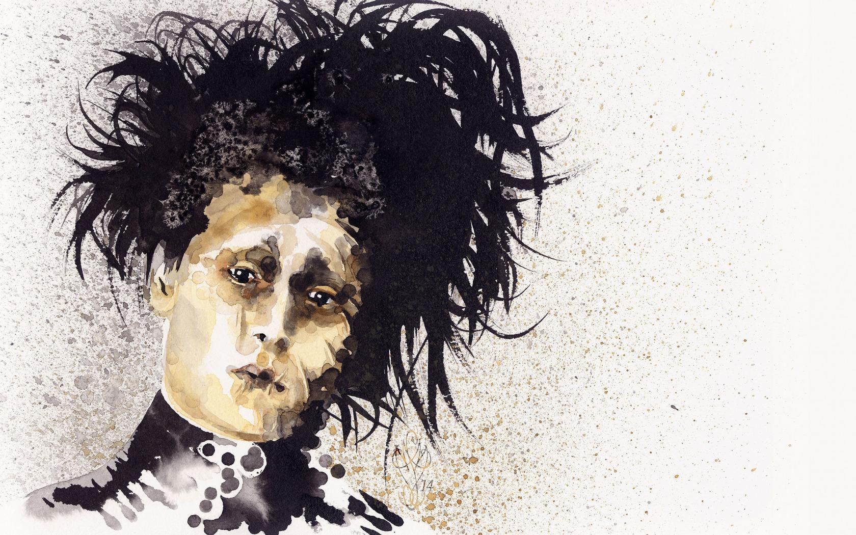Wallpaper drawing illustration edward scissorhands head johnny