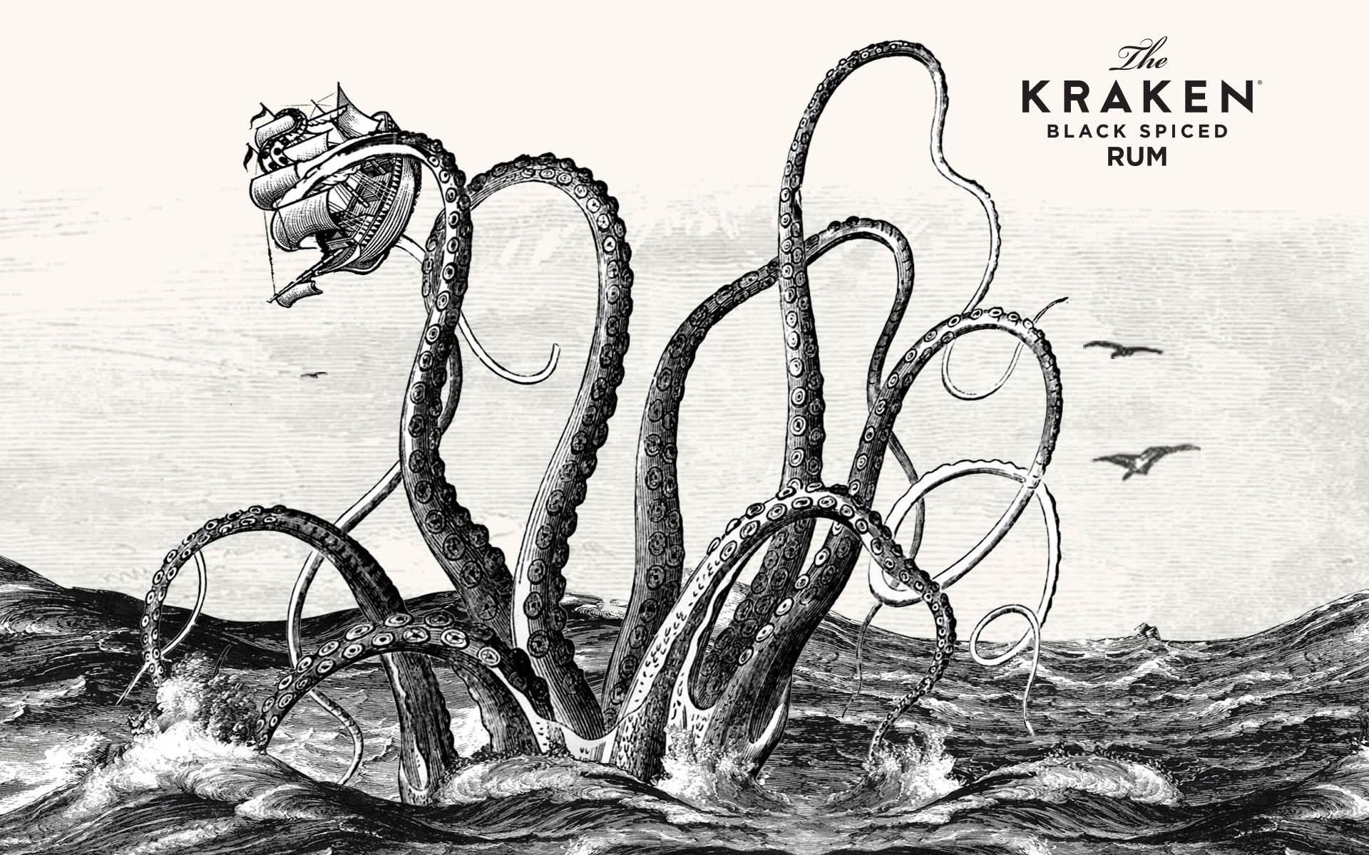 Wallpaper Ilustrasi Kraken Perahu Monster Laut Kapal Layar