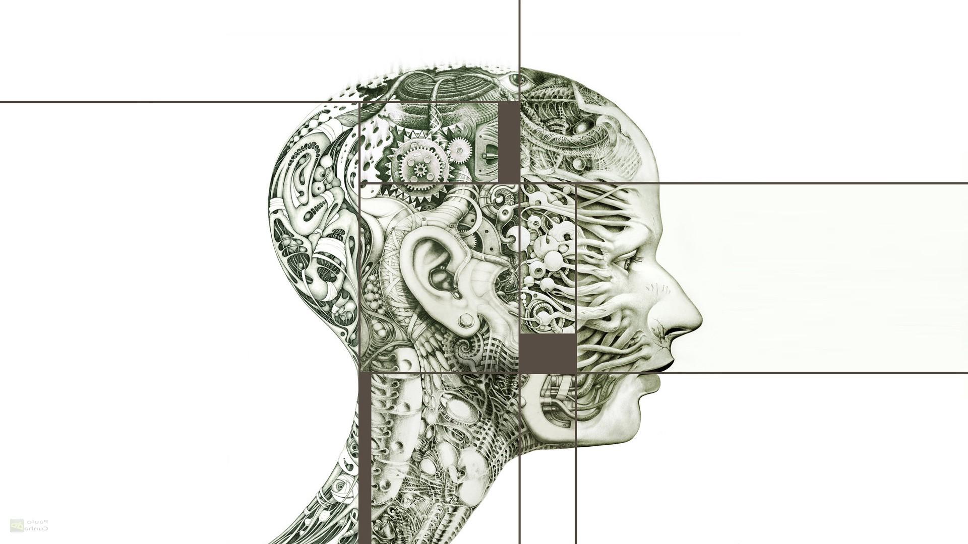 Hintergrundbilder : Zeichnung, Illustration, abstrakt, Kopf, Uhrwerk ...