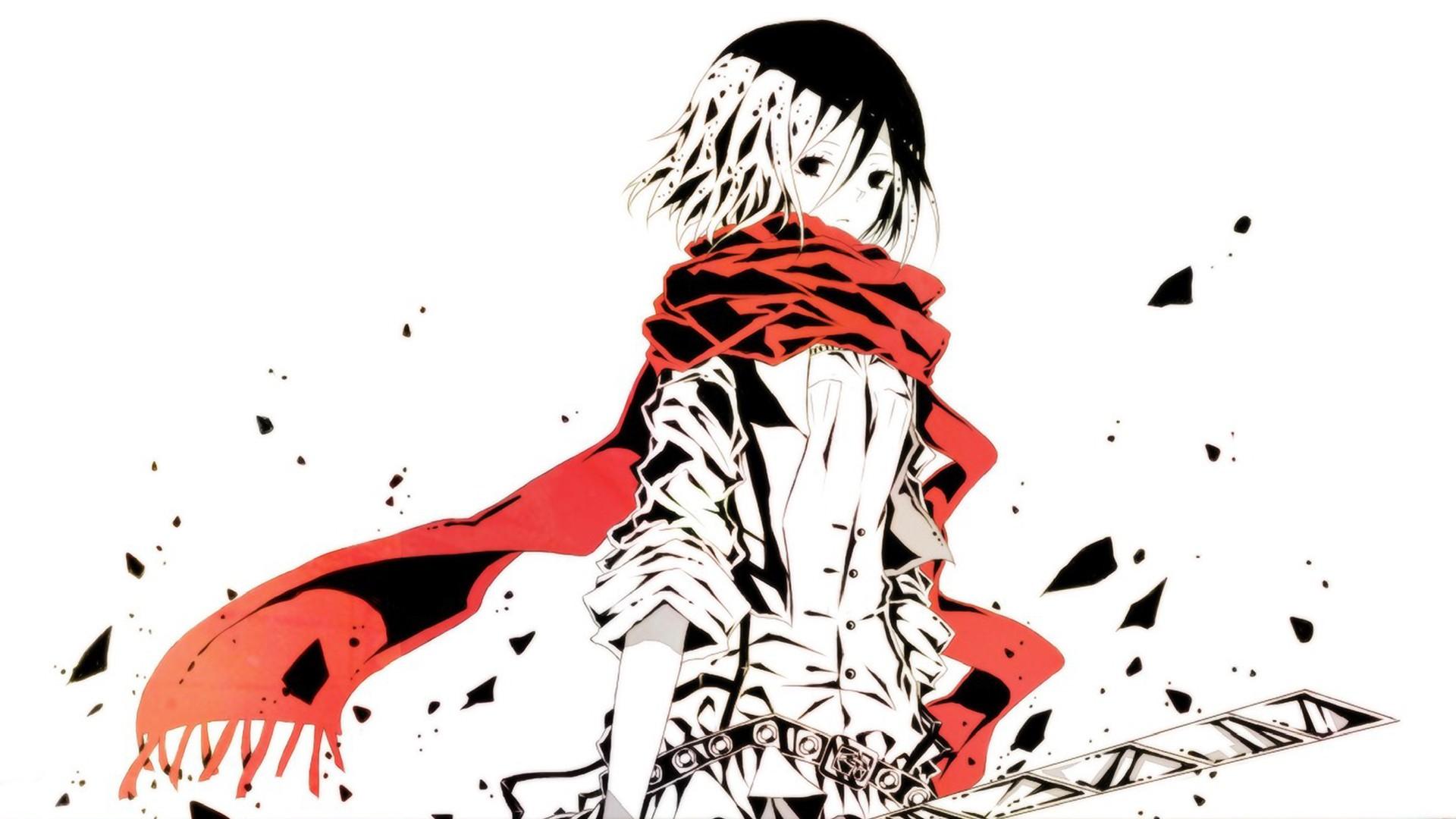 Gambar ilustrasi anime gadis anime gambar kartun shingeki no kyojin mikasa ackerman sketsa fon