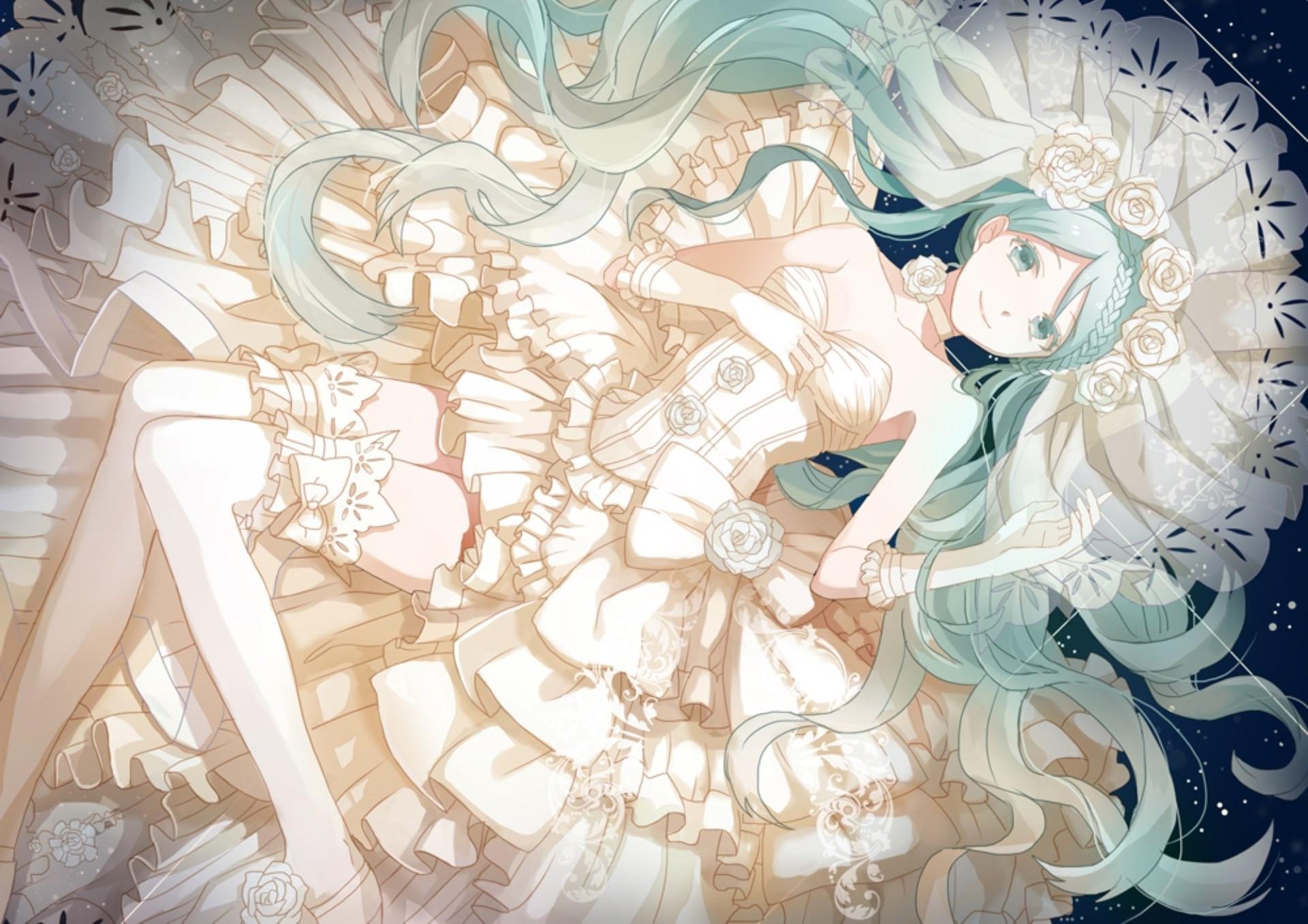 Gambar ilustrasi anime gadis anime gaun putih gaun vocaloid gaun pengantin mitologi sketsa karakter fiksi mangaka