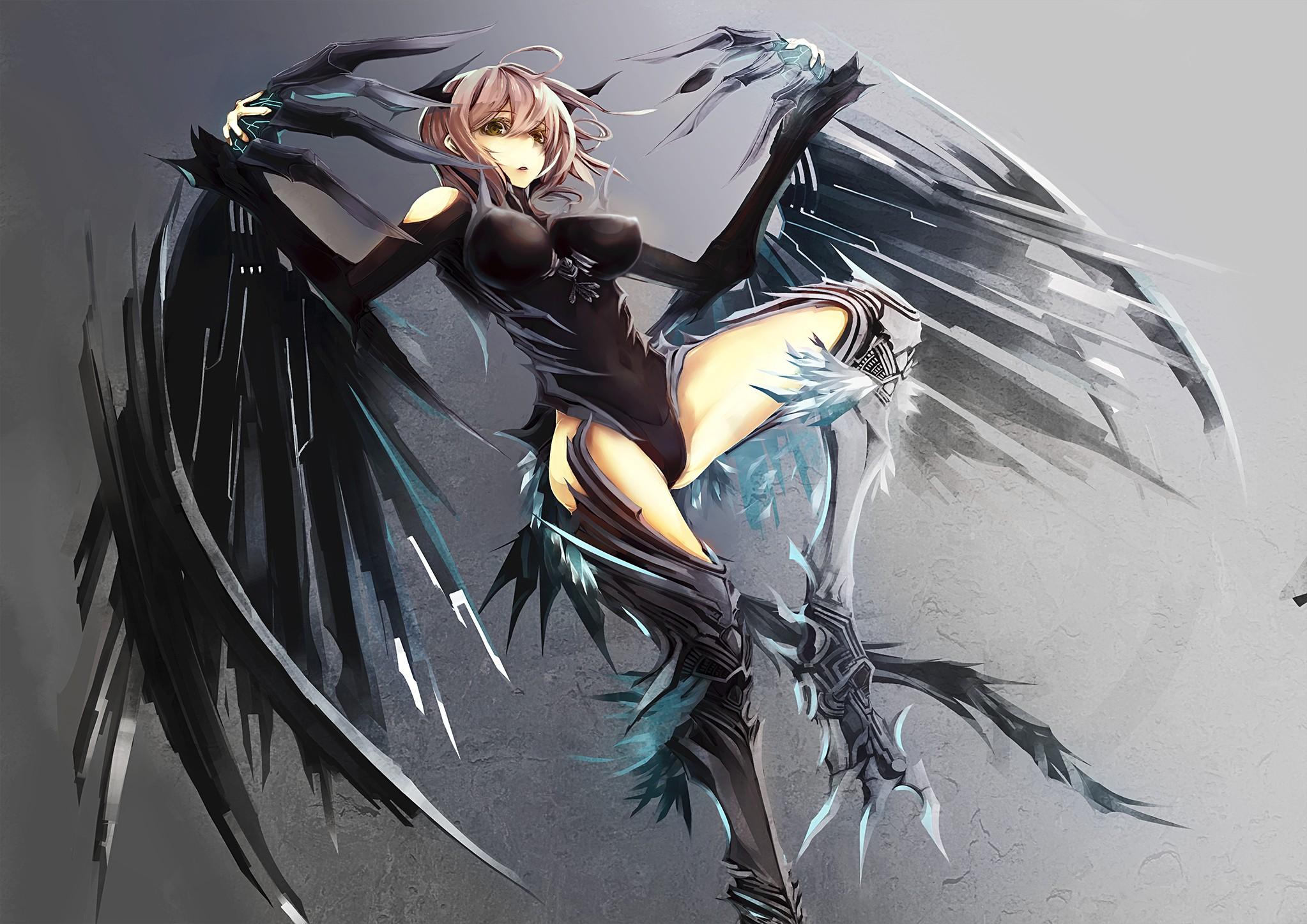 Wallpaper Gambar Ilustrasi Gadis Anime Sayap Payudara