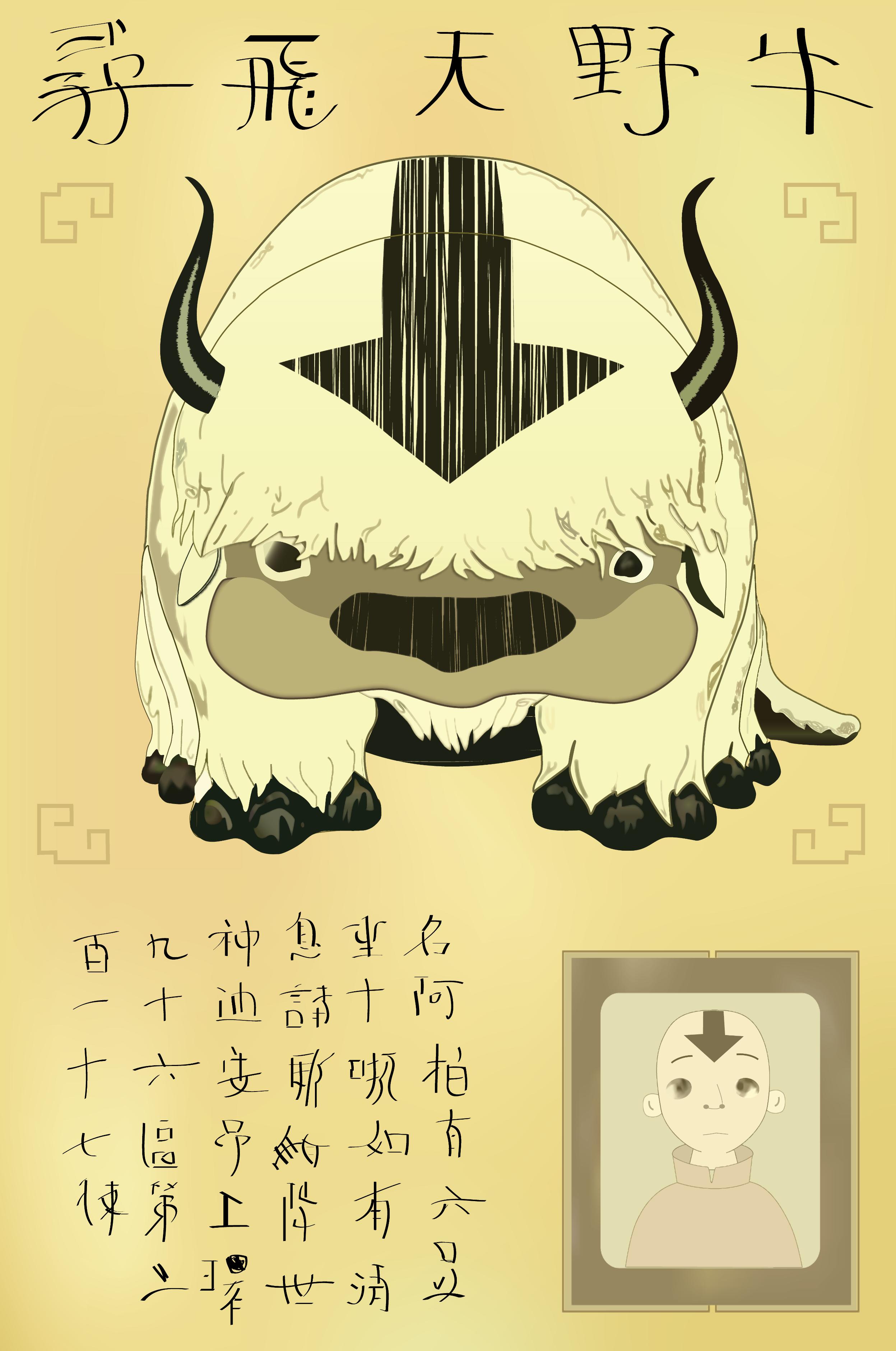 Drawing Illustration Anime Cartoon Avatar The Last Airbender Appa Sketch Font