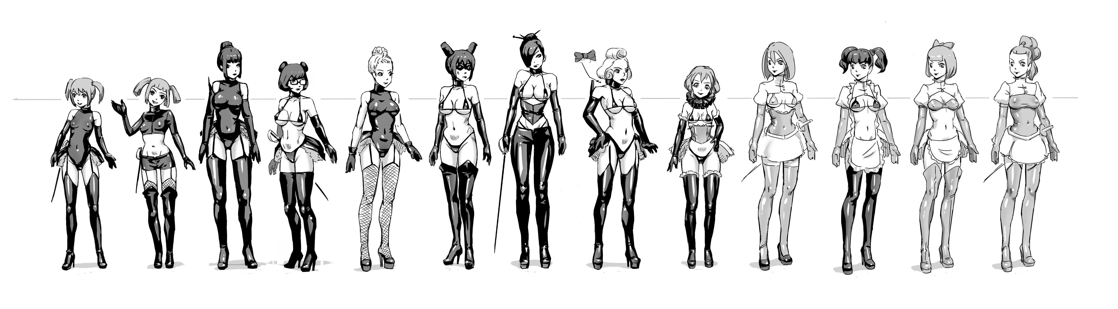 Fondos de pantalla : dibujo, ilustración, Chicas anime, Muslos altos ...