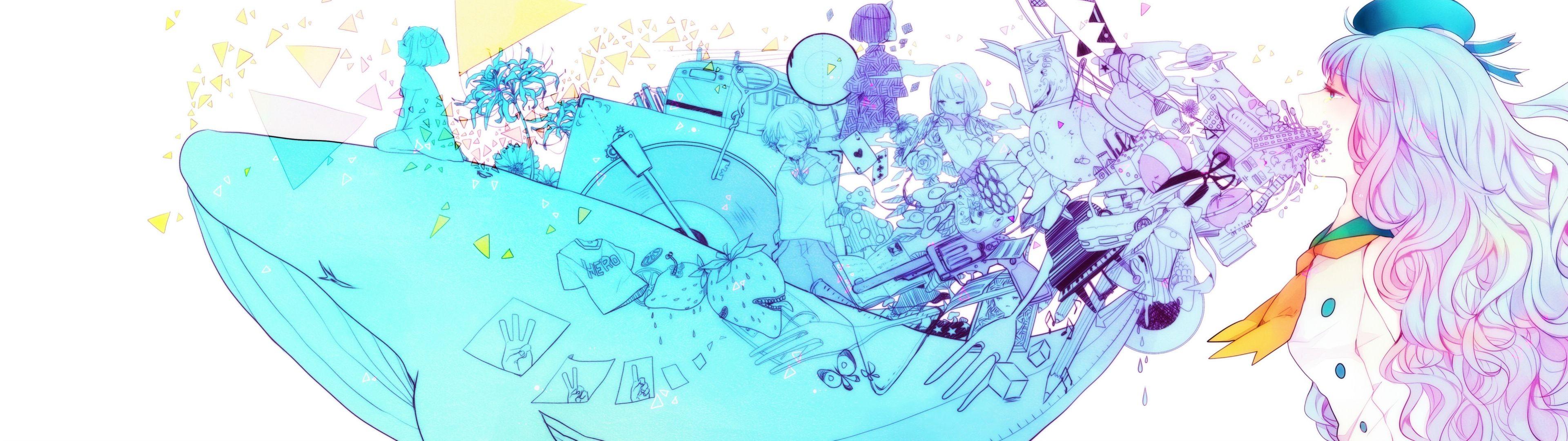 Wallpaper Gambar Ilustrasi Gadis Anime Ikan Paus