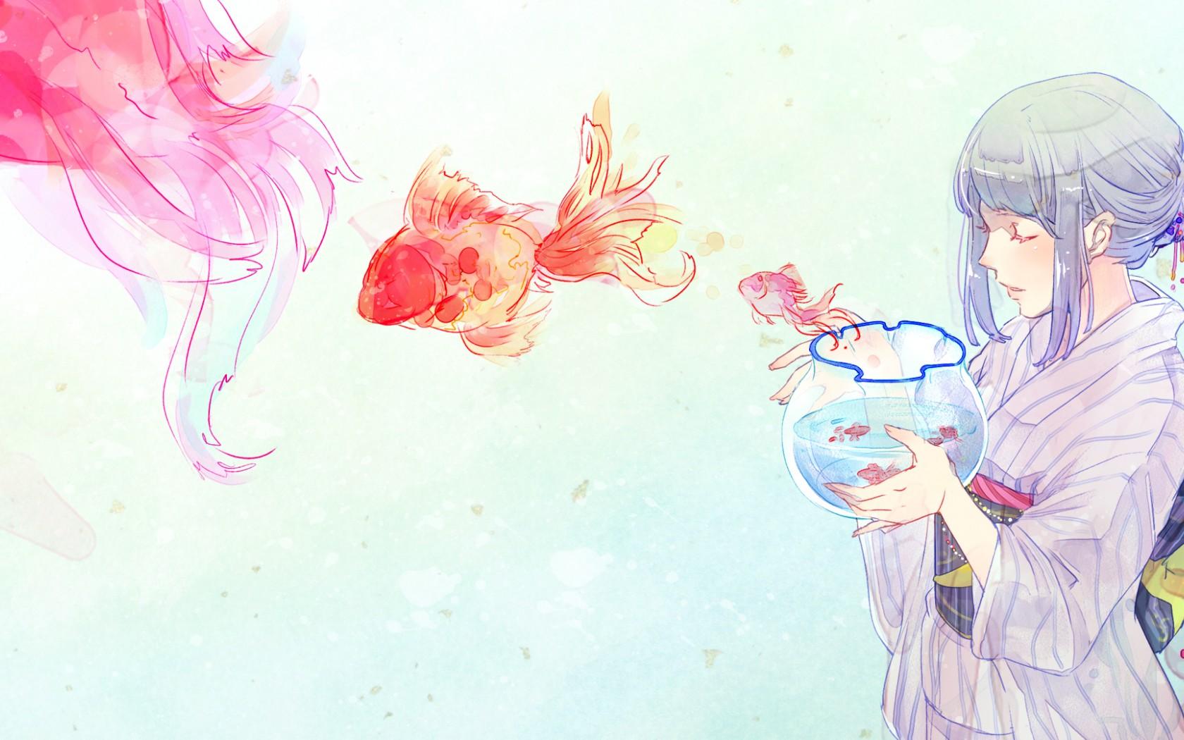 Обои аниме на рабочий стол аквариум