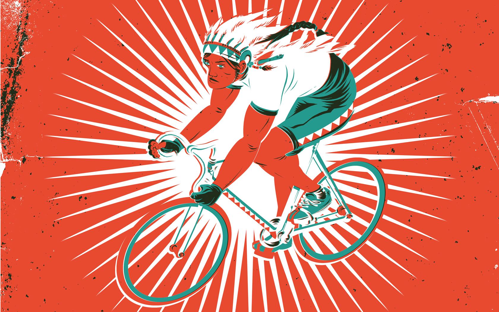 Wallpaper Ilustrasi Sepeda Merah Gambar Kartun Desain Grafis