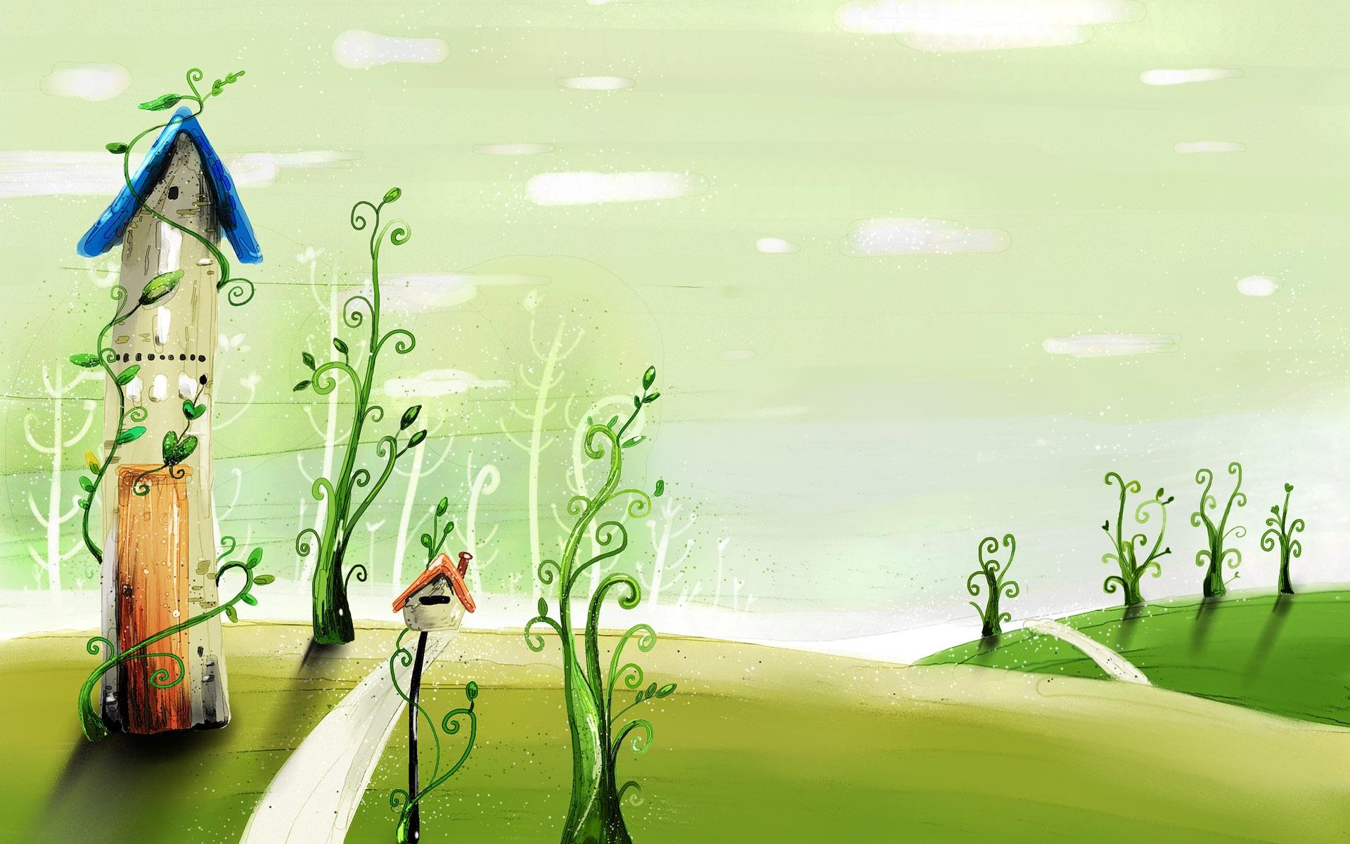 Wallpaper Ilustrasi Bangunan Rumput Hijau Gambar Kartun Musim