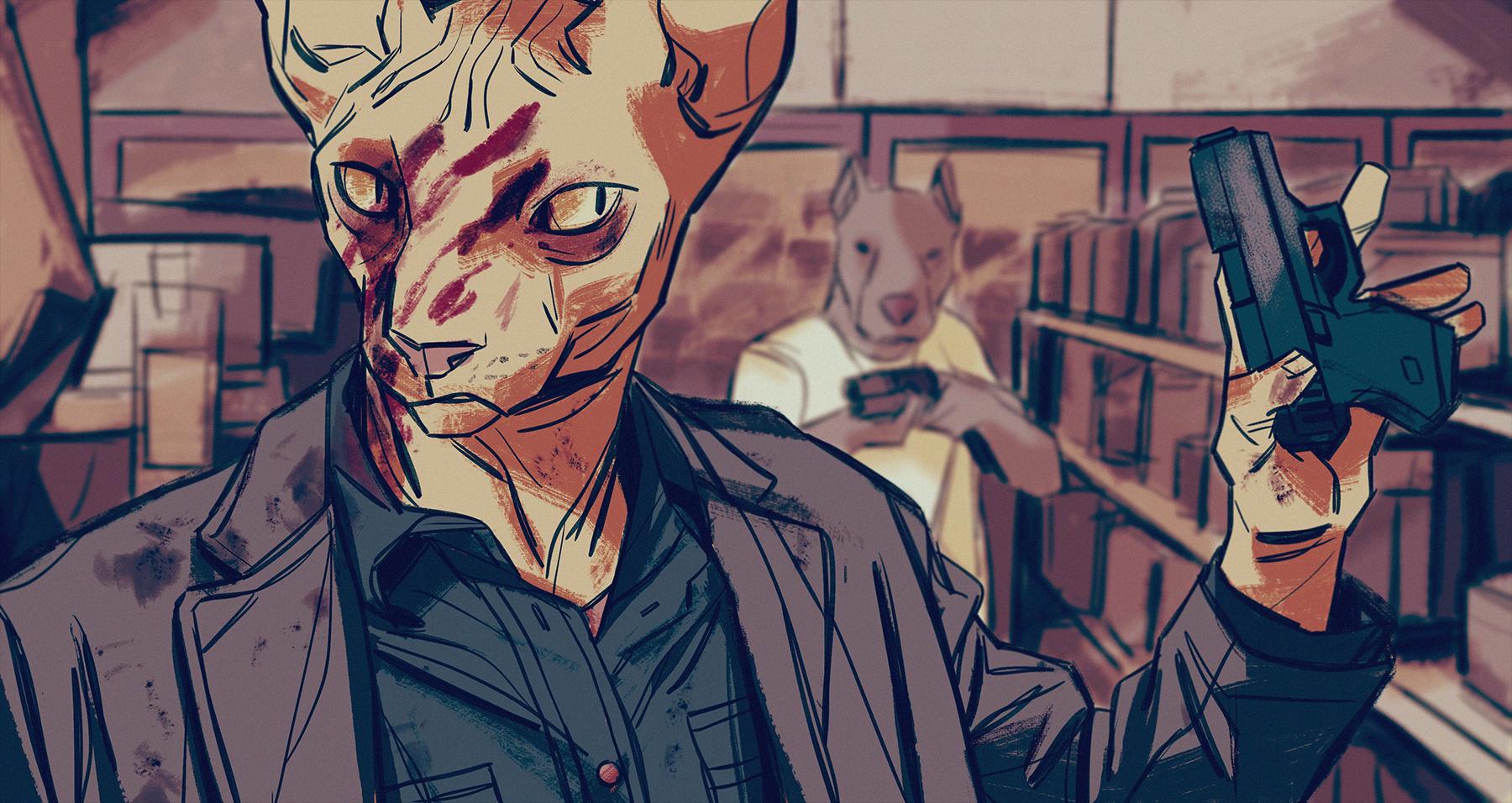 Wallpaper Gambar Ilustrasi Kucing Anjing Darah Anthro