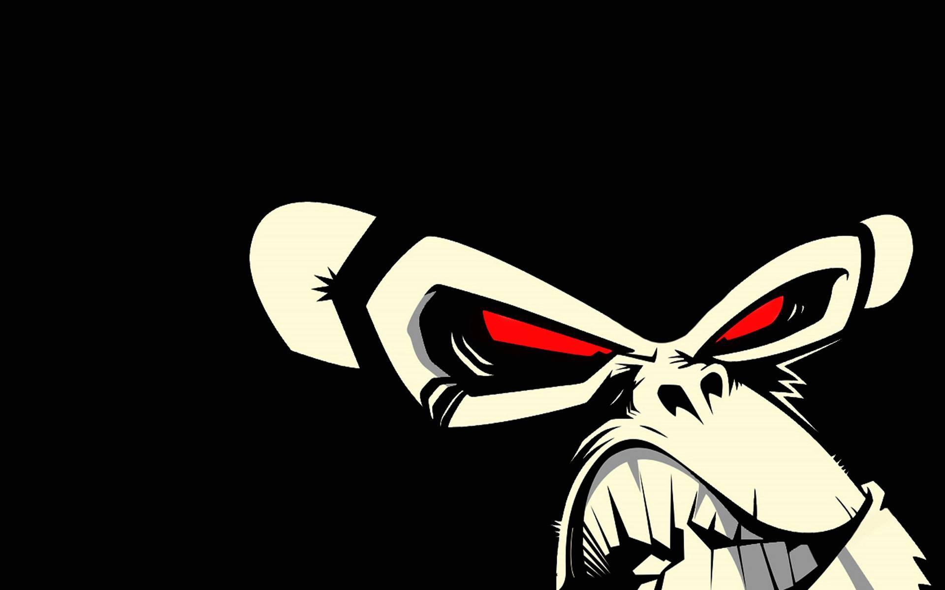Wallpaper Ilustrasi Gambar Kartun Mata Merah Coretan Monyet