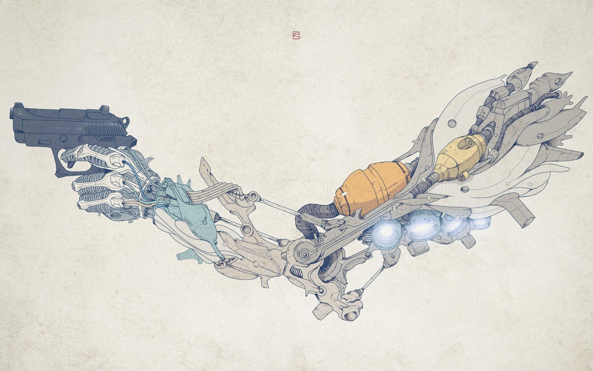 Wallpaper Gambar Ilustrasi Senjata Robot Karya Seni