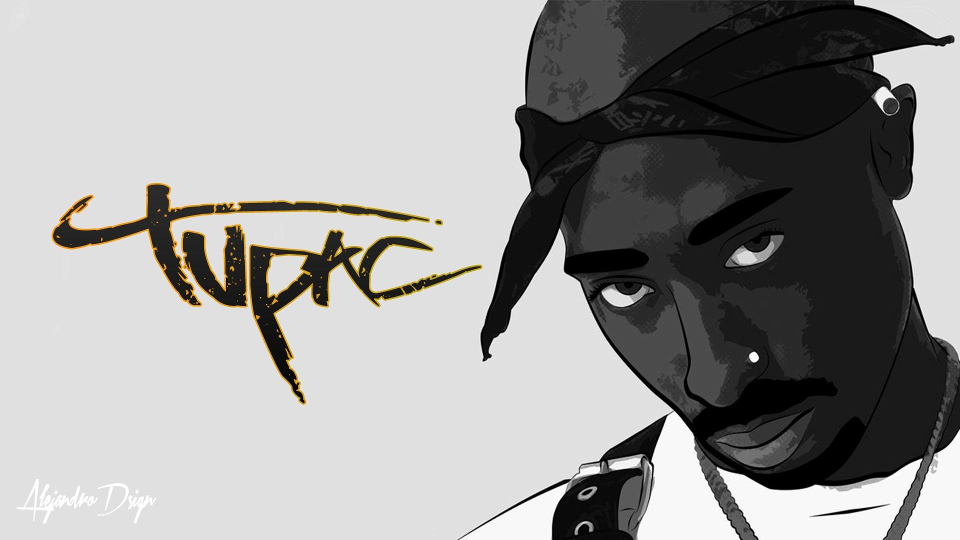 drawing illustration hip hop cartoon 2Pac Makaveli ART sketch 1920x1080 px font
