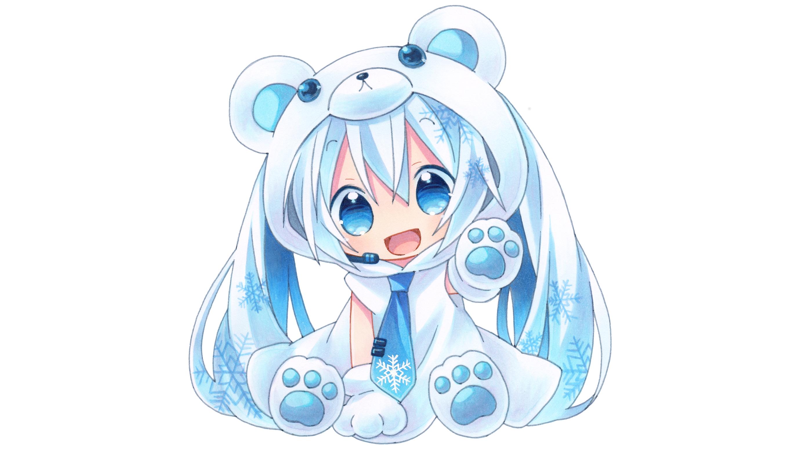 Fond d 39 cran illustration cheveux longs anime filles anime chibi dessin anim hatsune - Chibi background ...