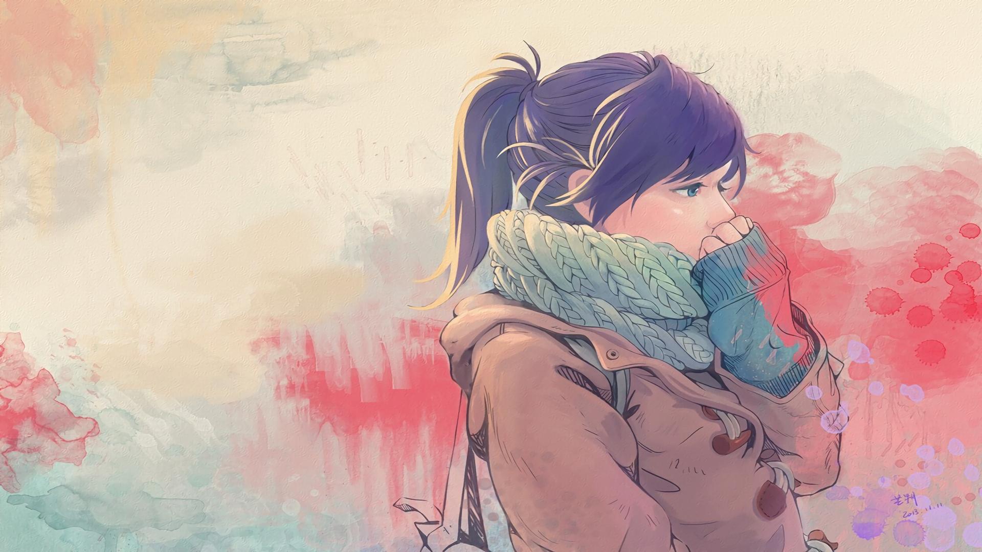 Wallpaper Gambar Ilustrasi Memalingkan Muka Anime Mata