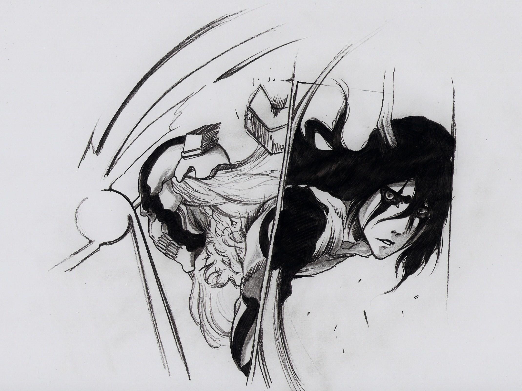 Fondos de pantalla : dibujo, ilustración, monocromo, Anime, Obra de ...