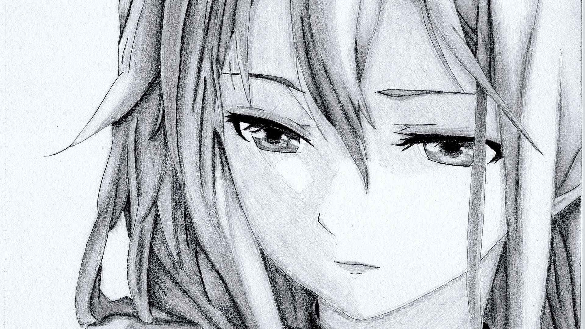 Wallpaper illustration looking away long hair anime