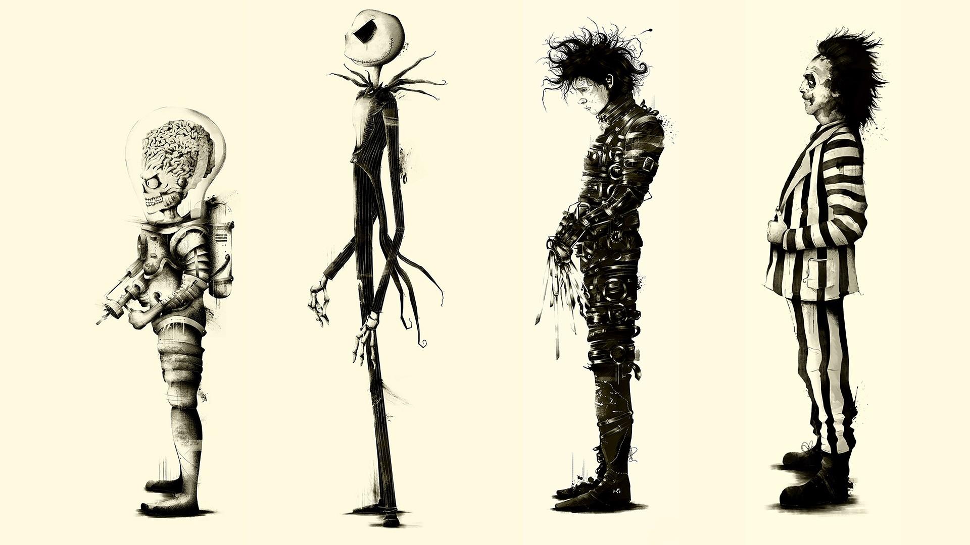 fond d 39 cran illustration monochrome films dessin anim fan art squelette edward. Black Bedroom Furniture Sets. Home Design Ideas