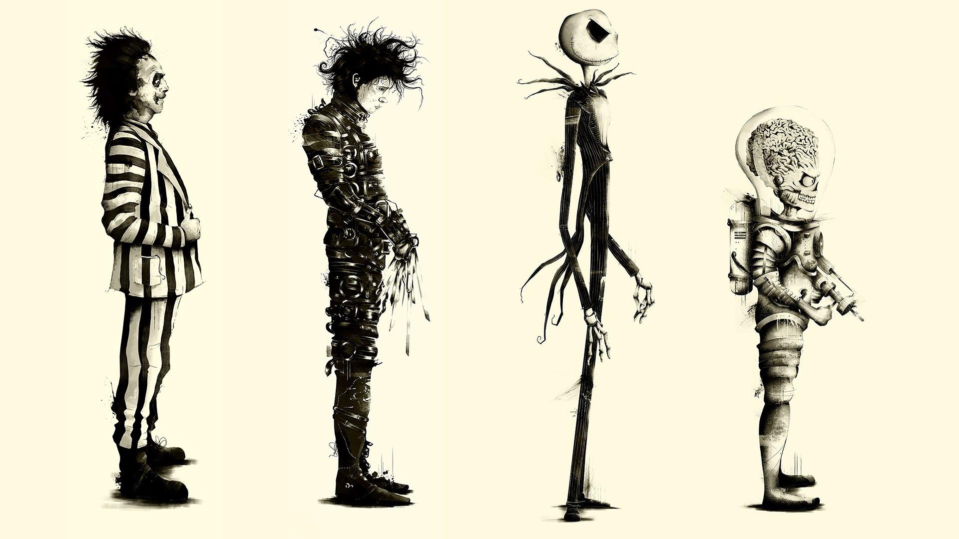 Wallpaper Illustration Silhouette Movies Cartoon Fan Art Skeleton Edward Scissorhands Tim Burton Mars Attacks Beetlejuice Art Sketch 1920x1080 Px Black And White Monochrome Photography Modern Art Font Figure Drawing 1920x1080