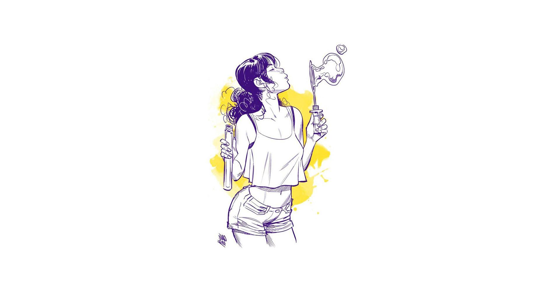 Wallpaper Ilustrasi Ungu Kuning Gambar Kartun Desain