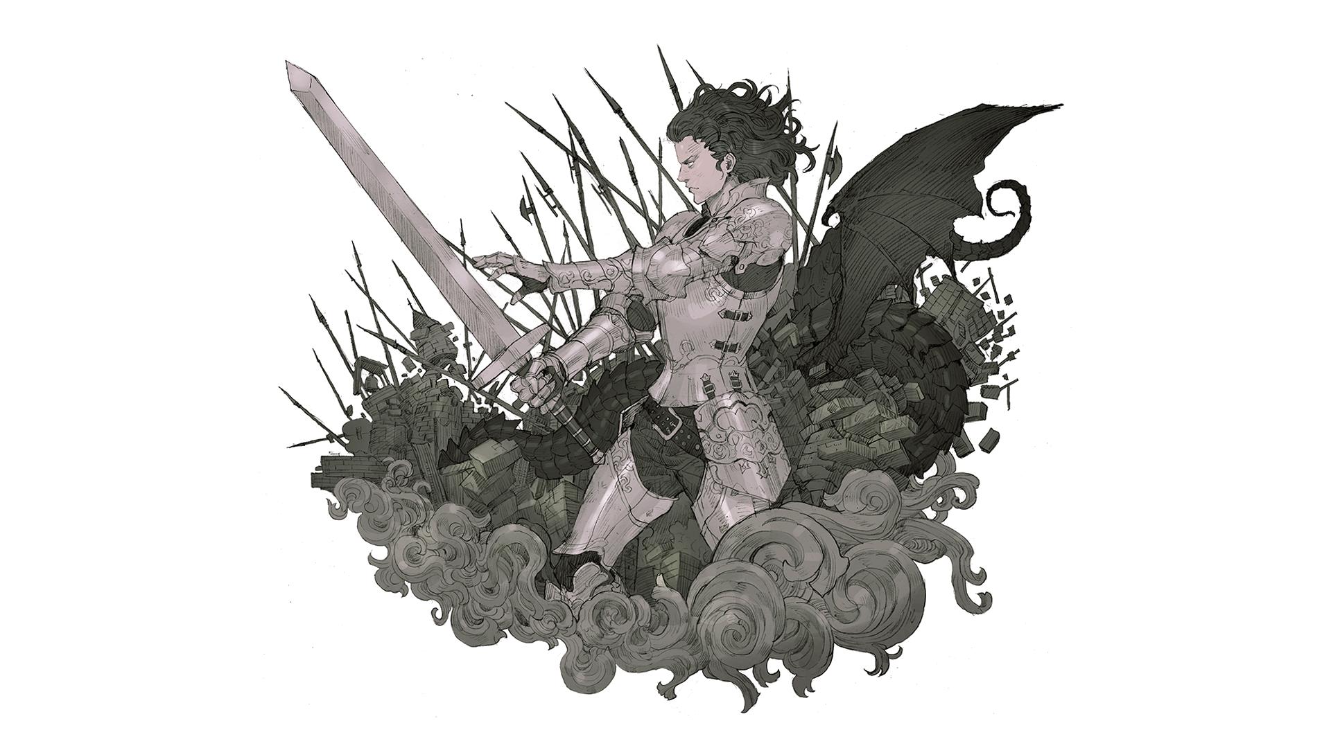 Wallpaper Drawing Illustration Simple Background Anime War