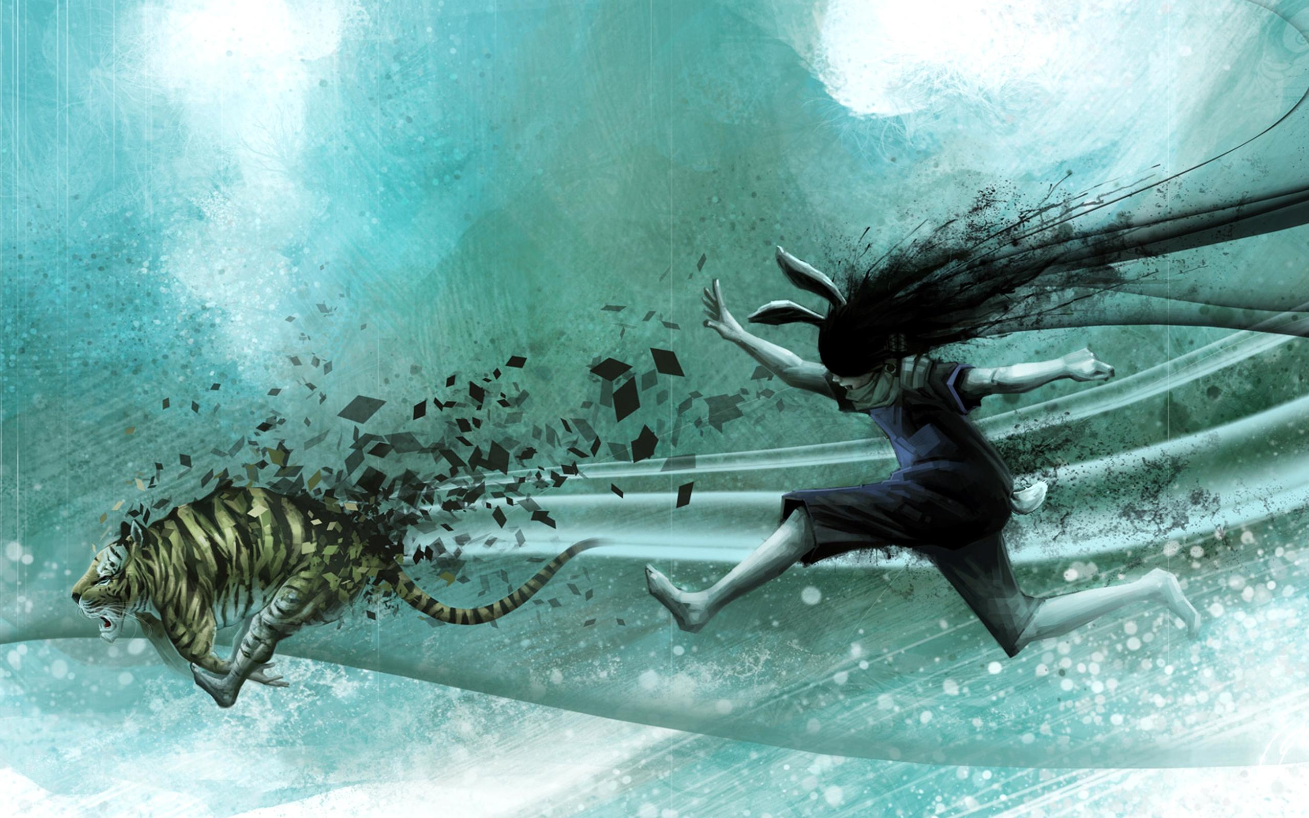 Wallpaper Drawing Illustration Tiger Underwater Running Ears