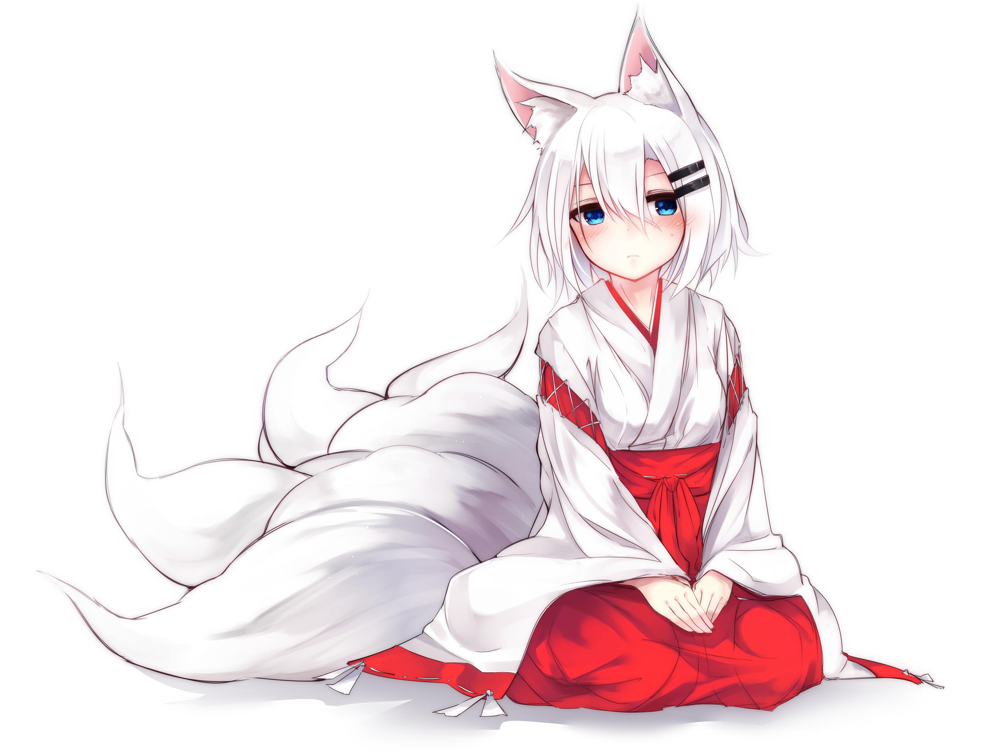 Wallpaper Drawing Illustration White Hair Anime Girls Animal