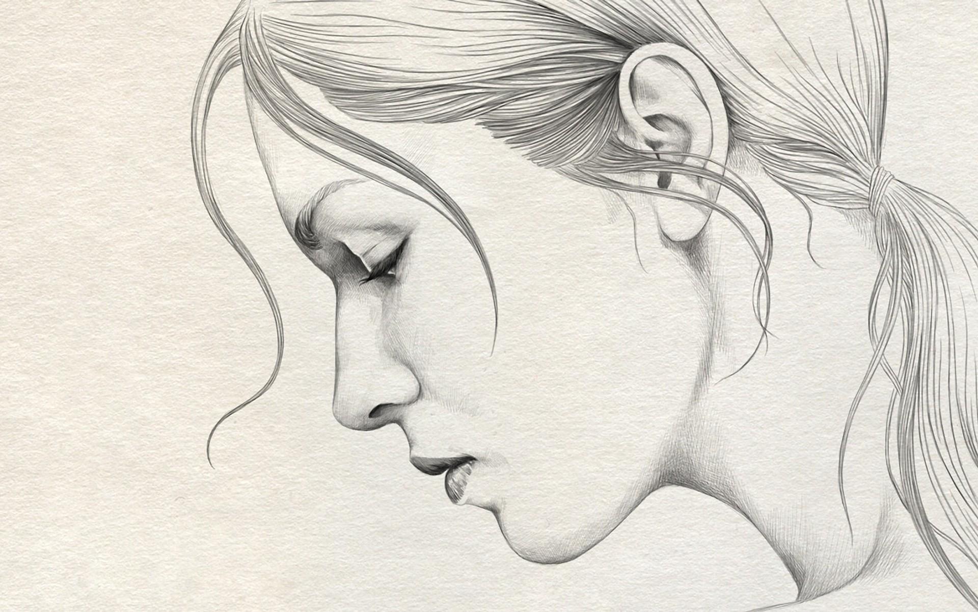 Wallpaper Ilustrasi Wanita Karya Seni Profil Garis Seni