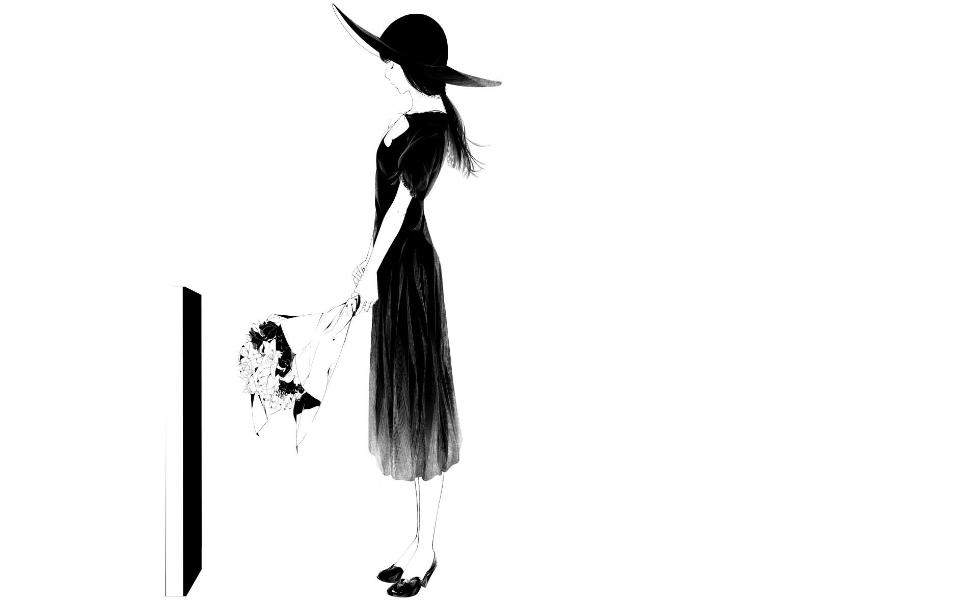 Drawing Illustration Women Monochrome Simple Background Flowers Hat Artwork White Cartoon Sketch Costume Design Fashion