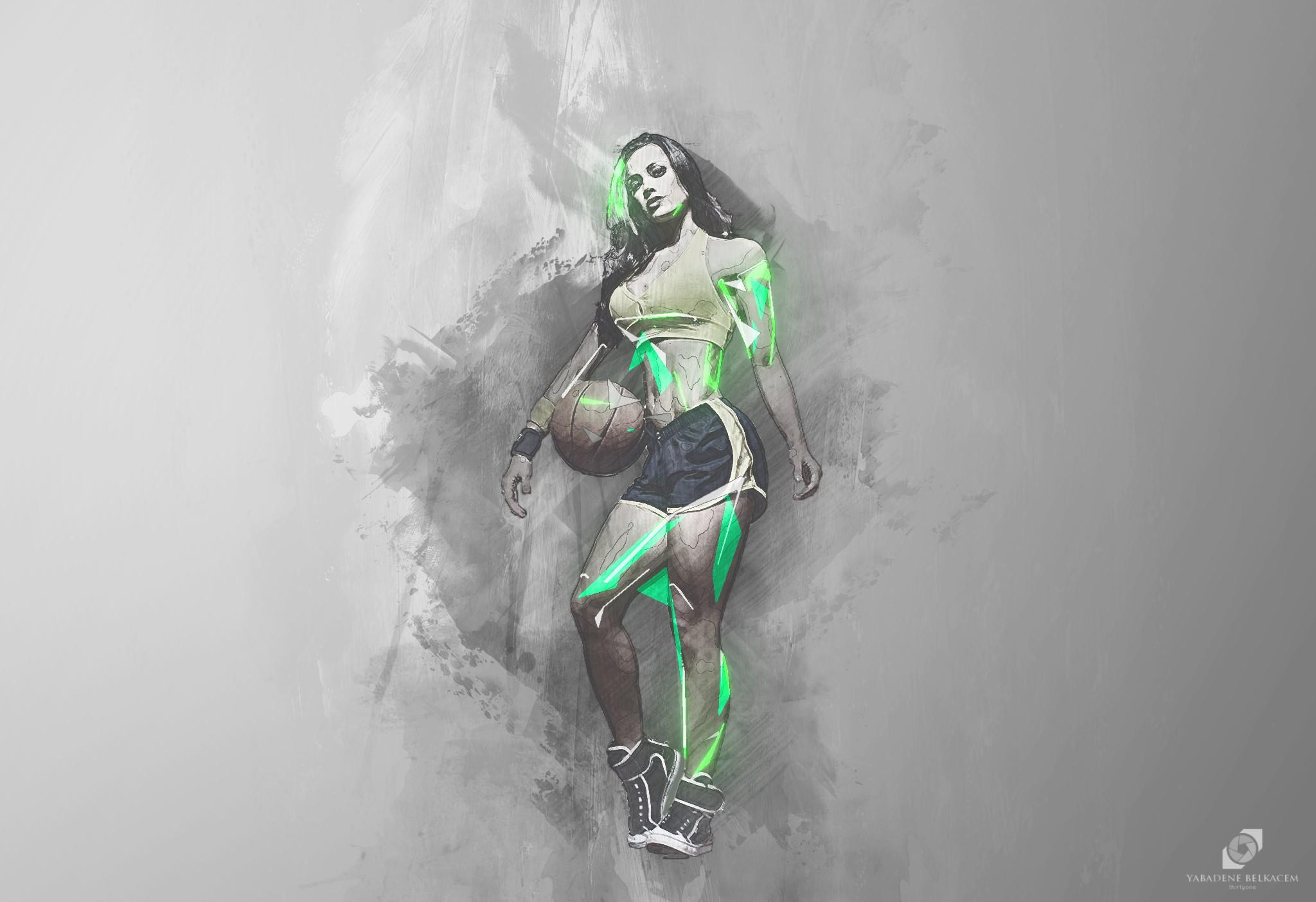 Wallpaper Drawing Illustration Women Sport Abstract Artwork