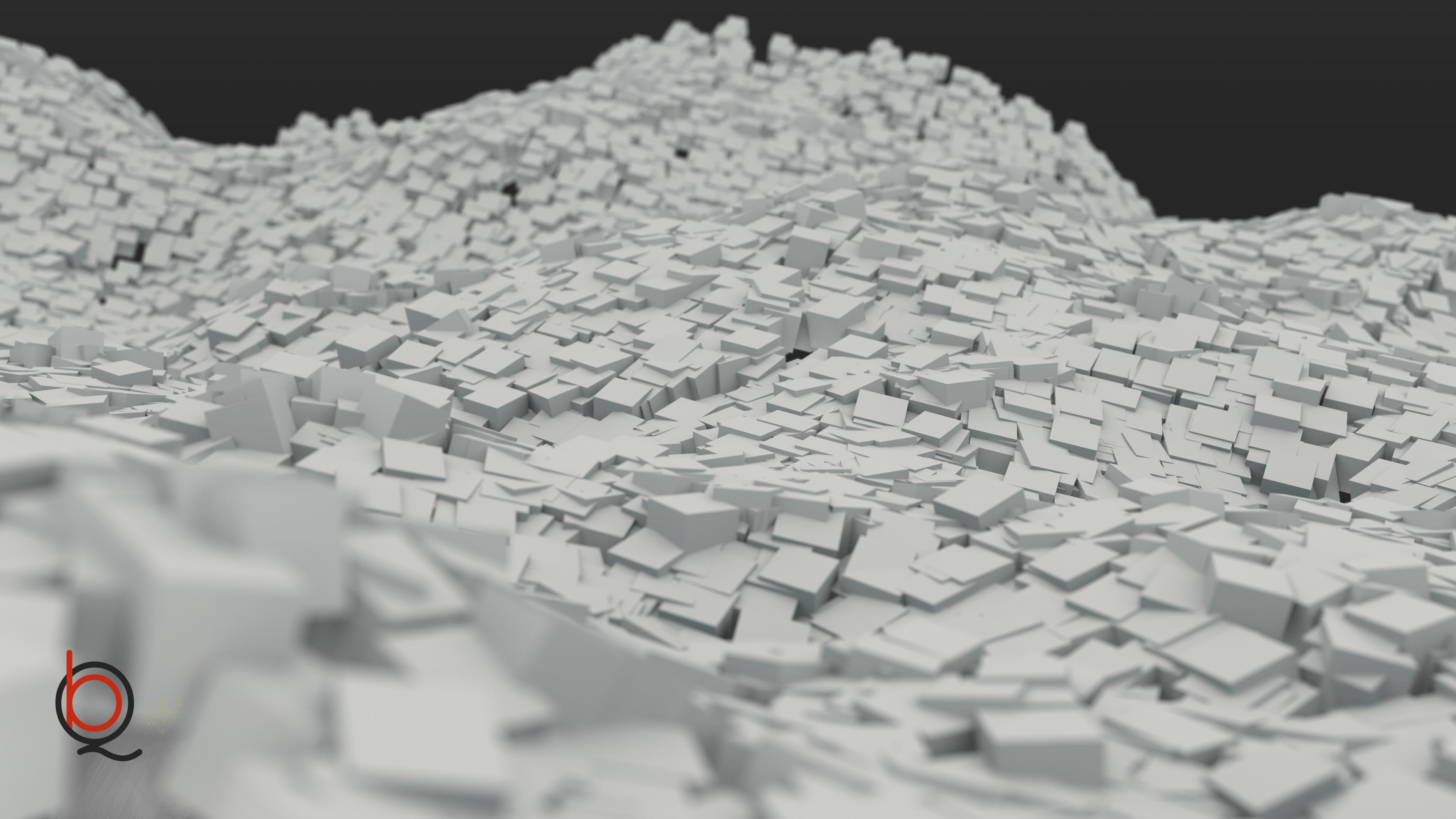 デスクトップ壁紙 お絵かき モノクロ 抽象 ミニマリズム 立方体