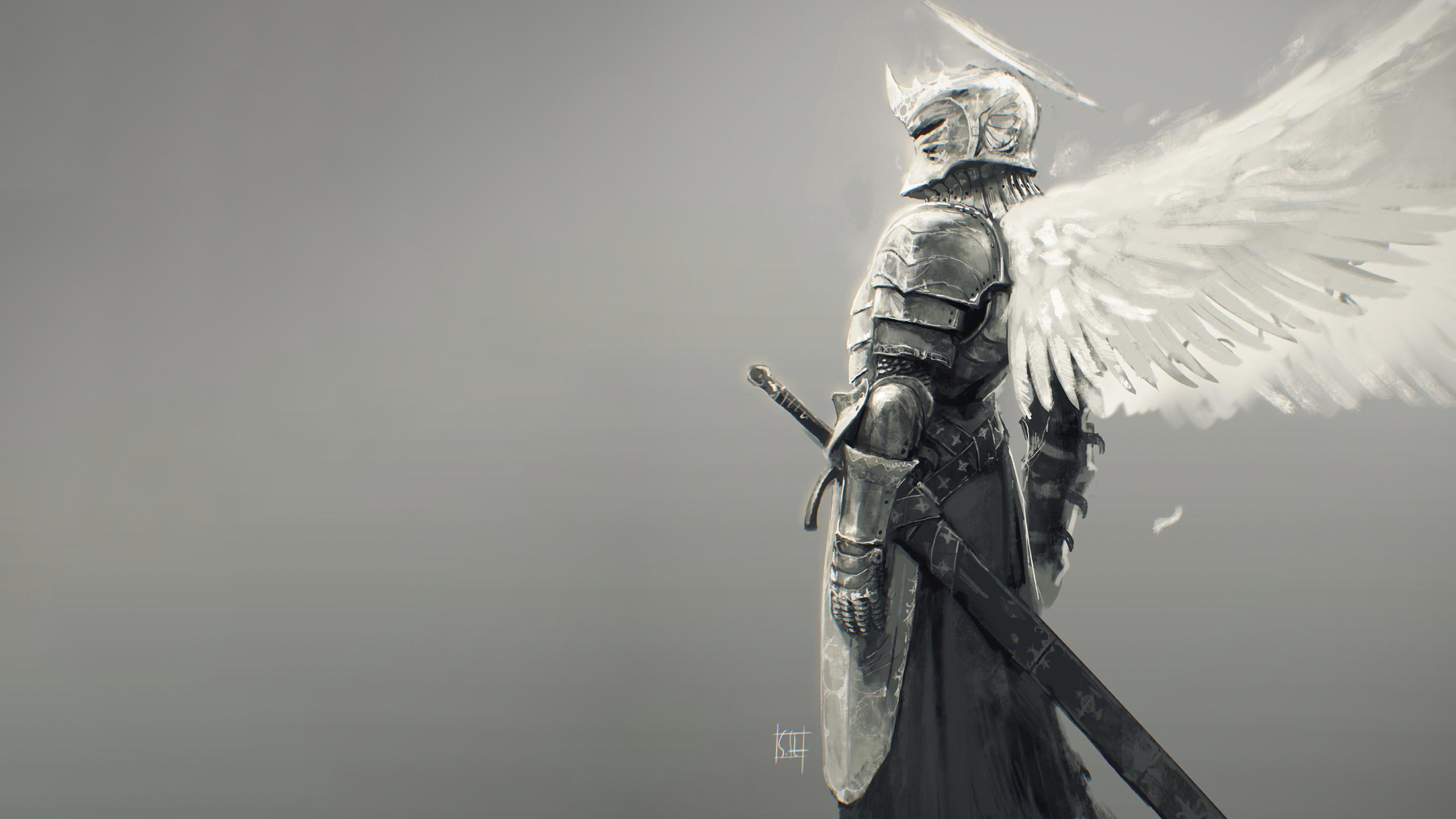 wallpaper drawing monochrome fantasy art knight