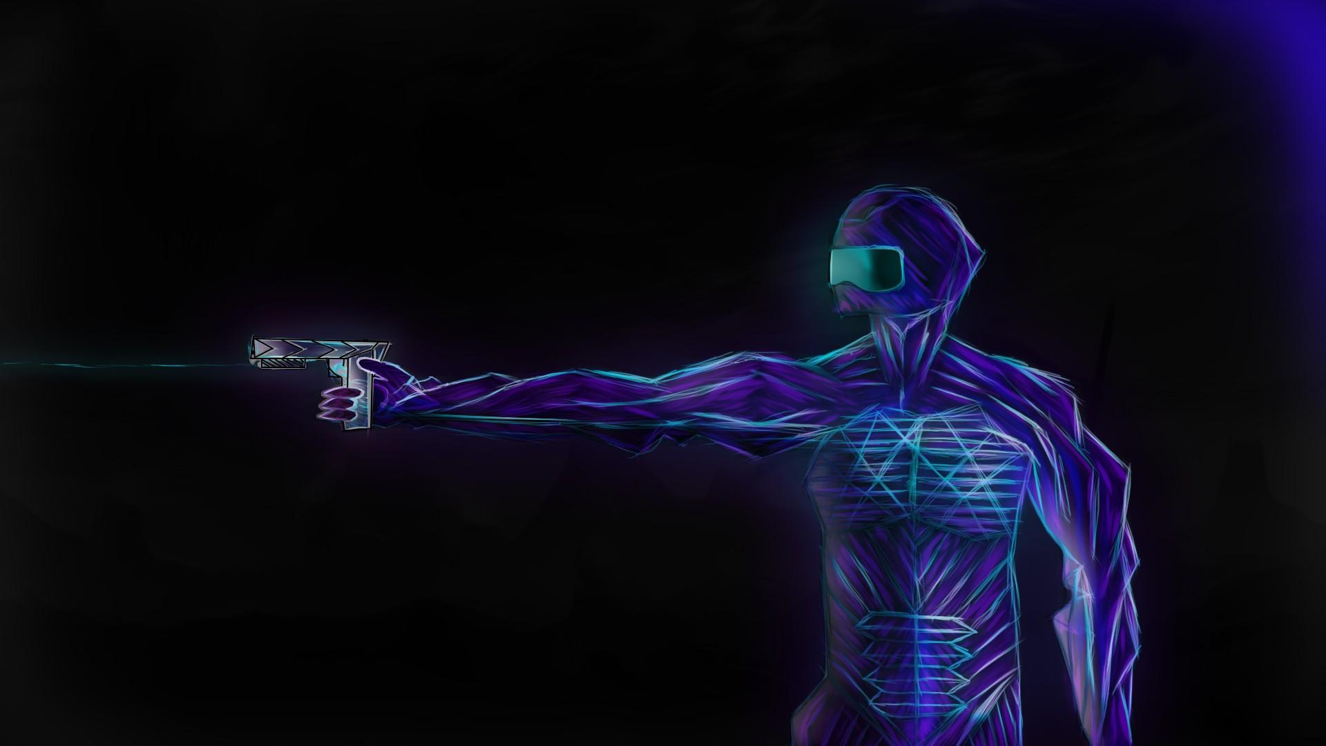 wallpaper : drawing, neon, blue, futuristic armor, soft shading