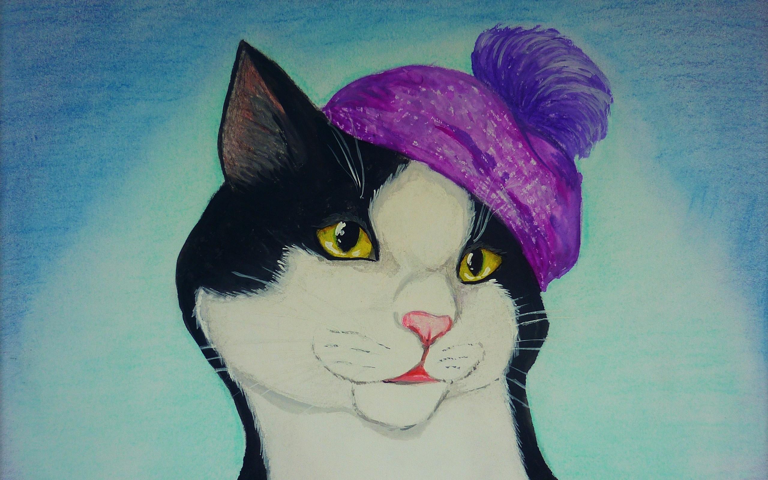Wallpaper Gambar Lukisan Ilustrasi Topi Biru SENI