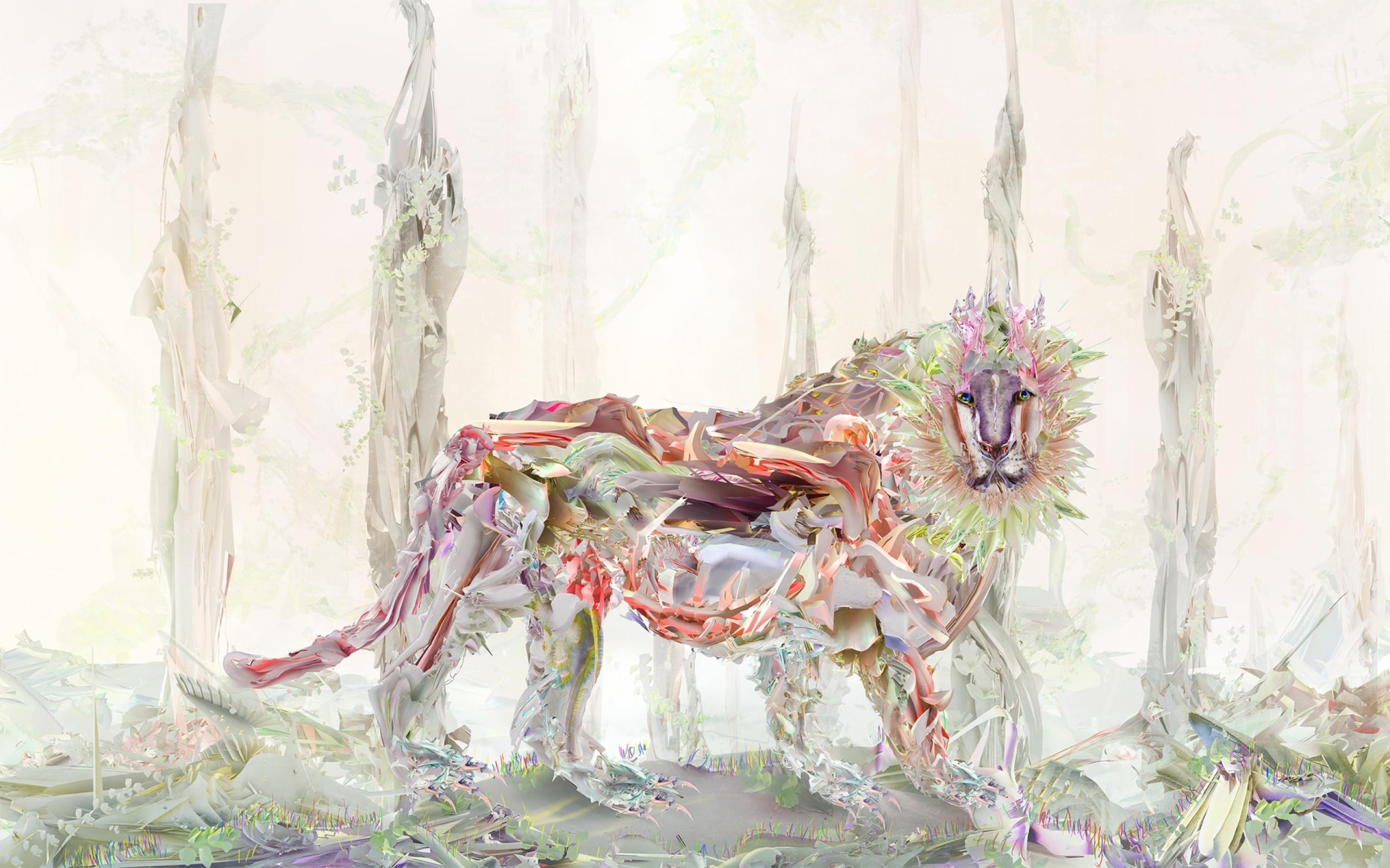 Masaustu Cizim Boyama Illustrasyon Aslan Sanat Isik Cicek