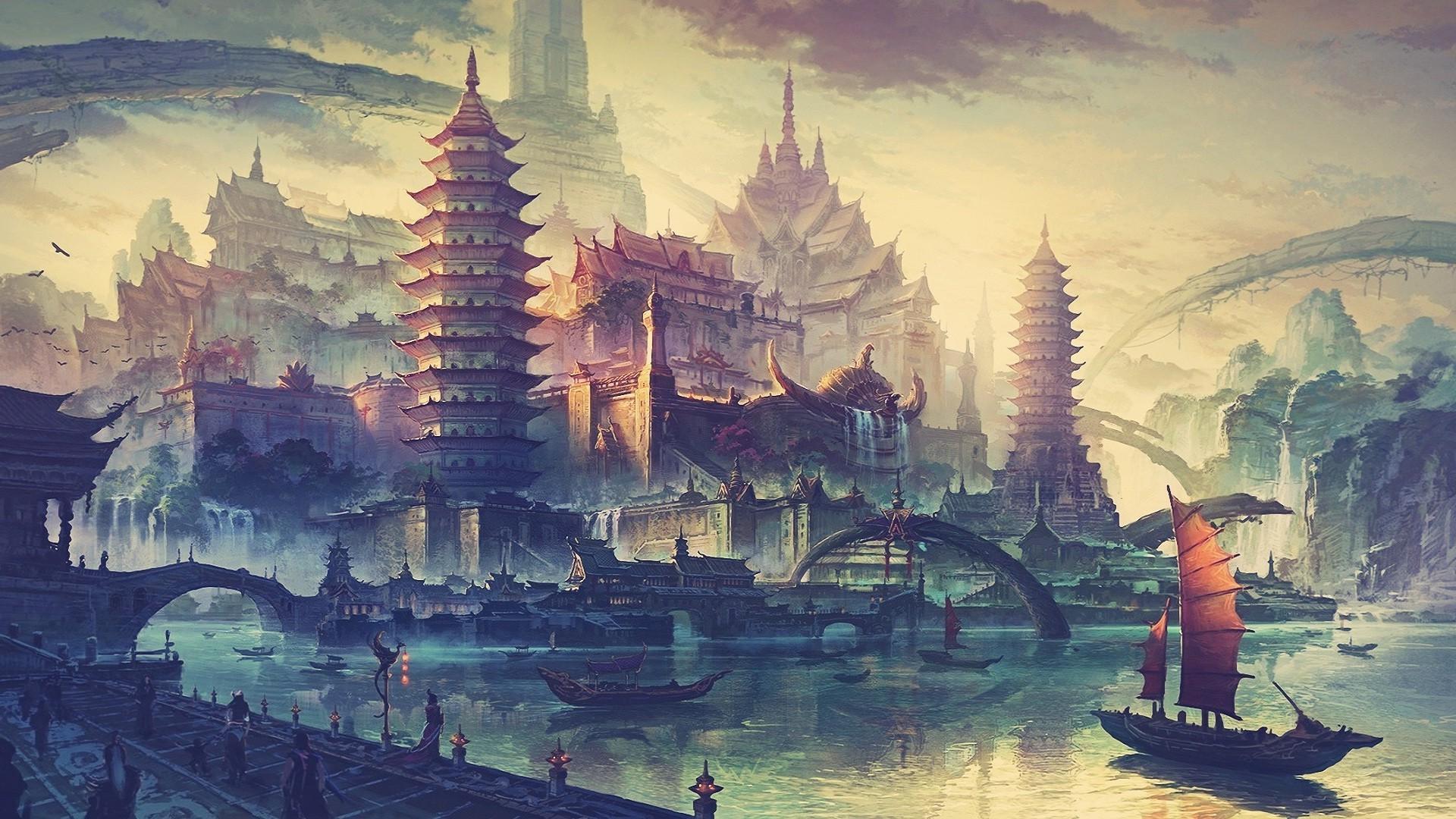 Drawing Painting Illustration Ship Boat Fantasy Art City Cityscape Water Evening Tower Landmark Screenshot 1920x1080 Px