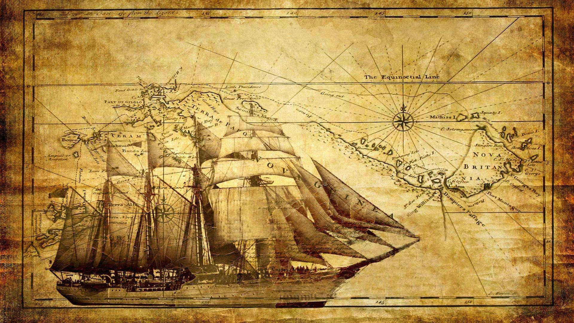 Wallpaper Gambar Lukisan Ilustrasi Kapal Kapal Layar Peta