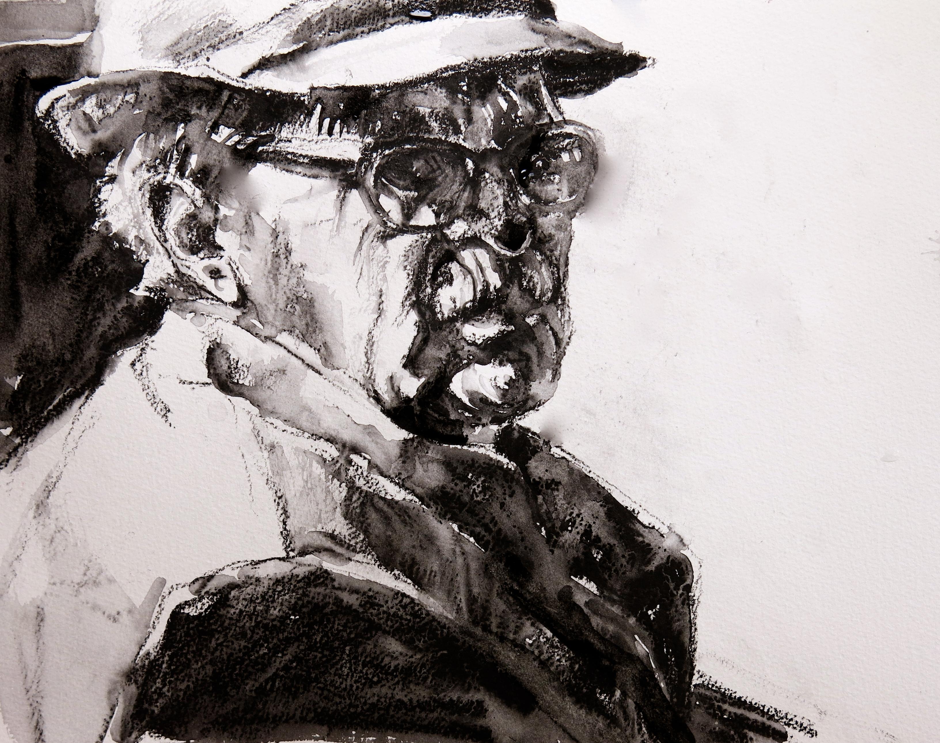 Fond d 39 cran dessin la peinture monochrome portrait for Fond ecran portrait
