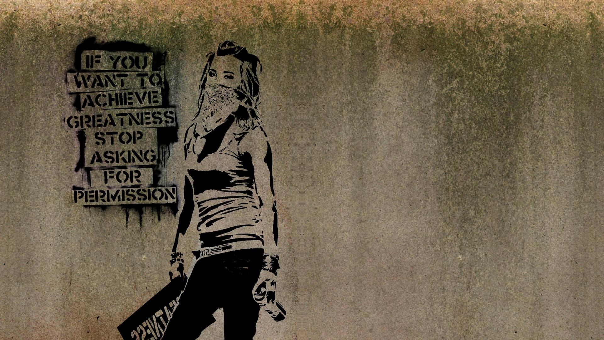 Drawing Quote Women Minimalism Wall Artwork Text Scarf Inspirational Graffiti Banksy Art