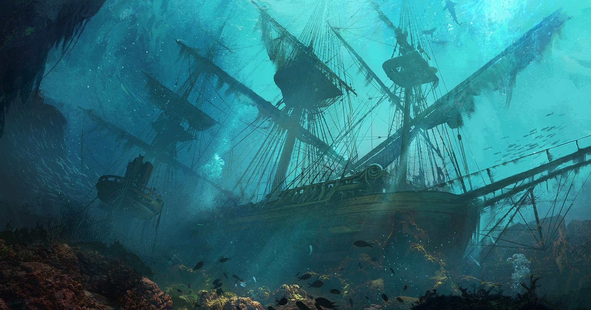 Затопленный корабль нарисовать