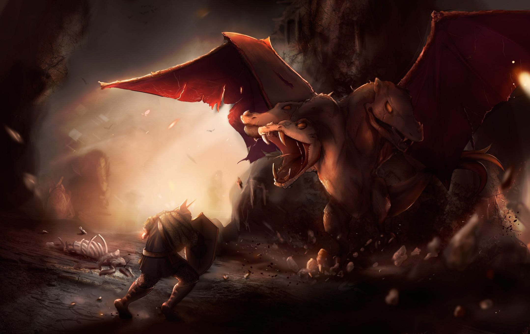 Wallpaper Drawing Sky Dragon Demon Shield Mythology