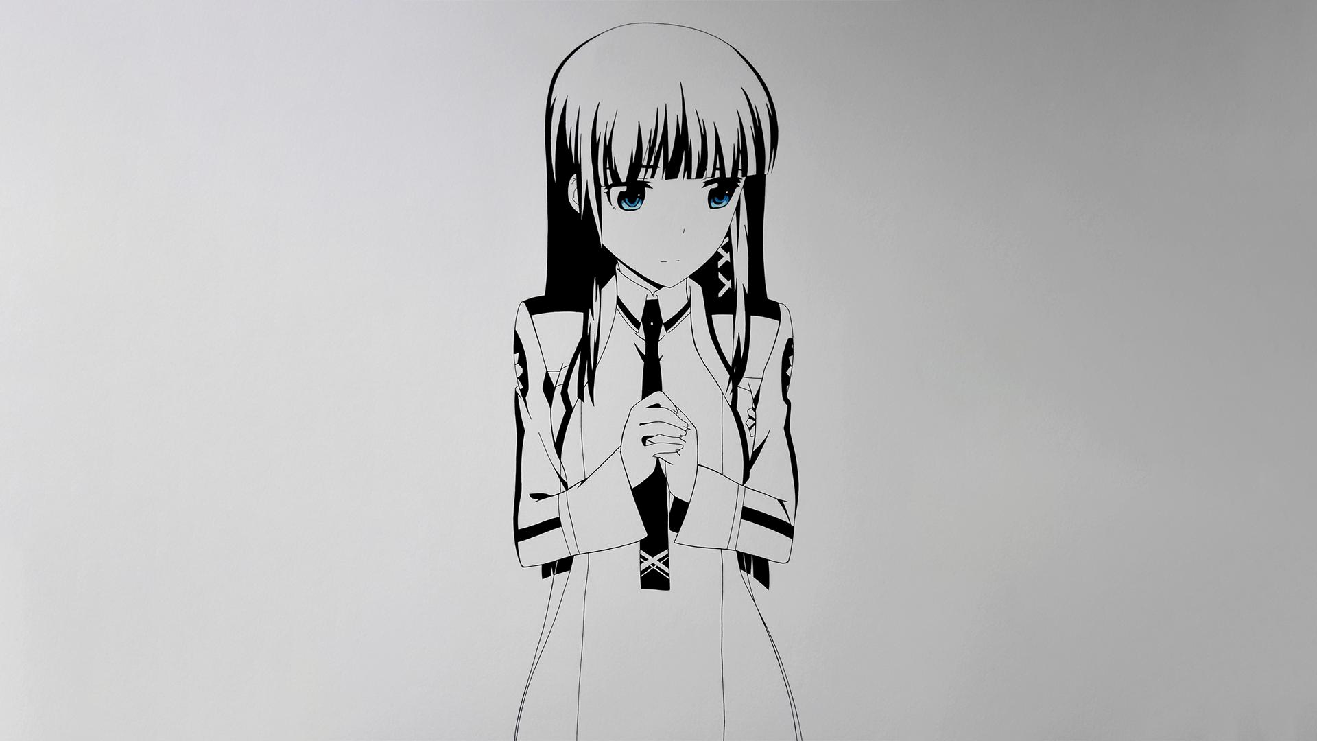 Wallpaper Ilustrasi Satu Warna Gadis Anime Gambar