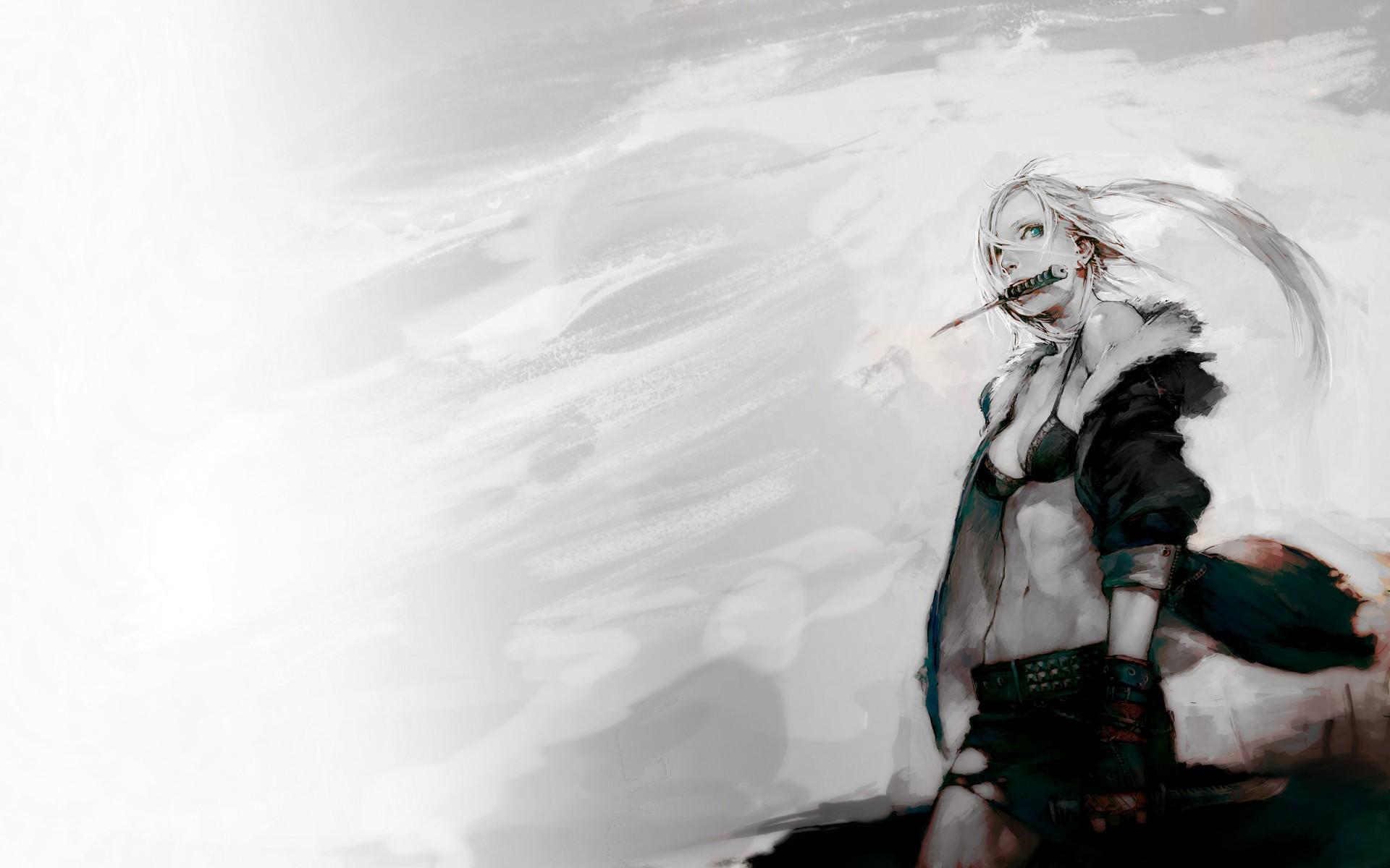 Tapety Vykres Bily Bile Vlasy Anime Divky Modre Oci Zima