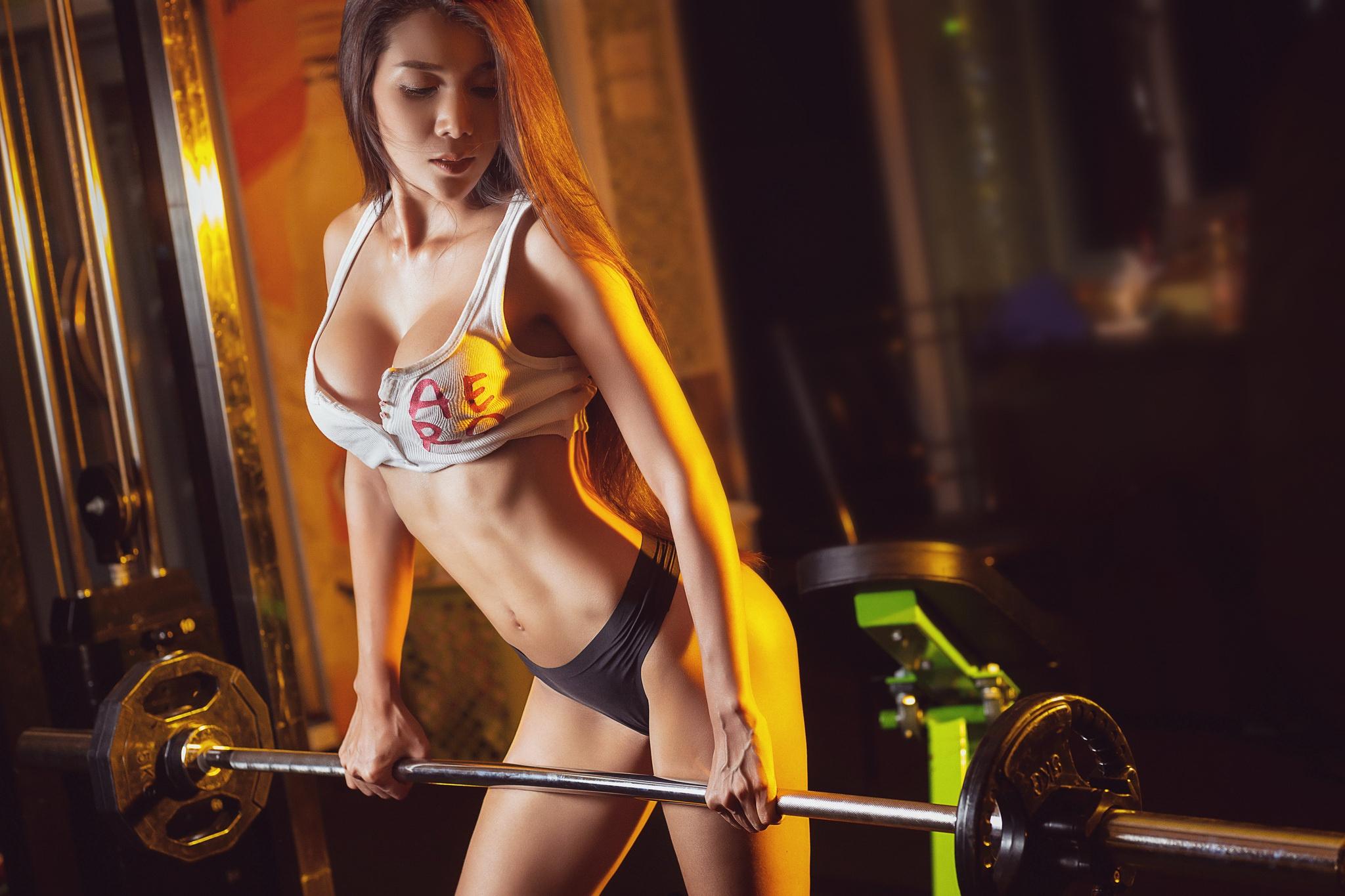 Wallpaper Dumbbells Asian Women Working Out Panties