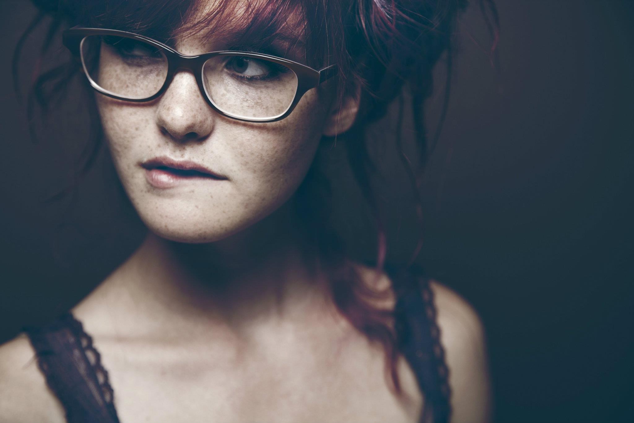 Wallpaper Face Black Redhead Model Sunglasses Glasses Blue