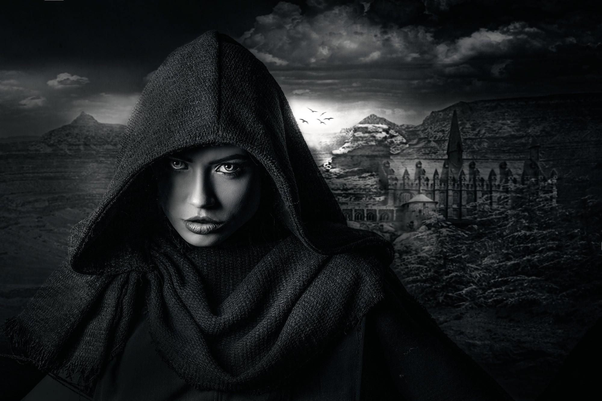 Wallpaper face women model fantasy art looking at viewer cape