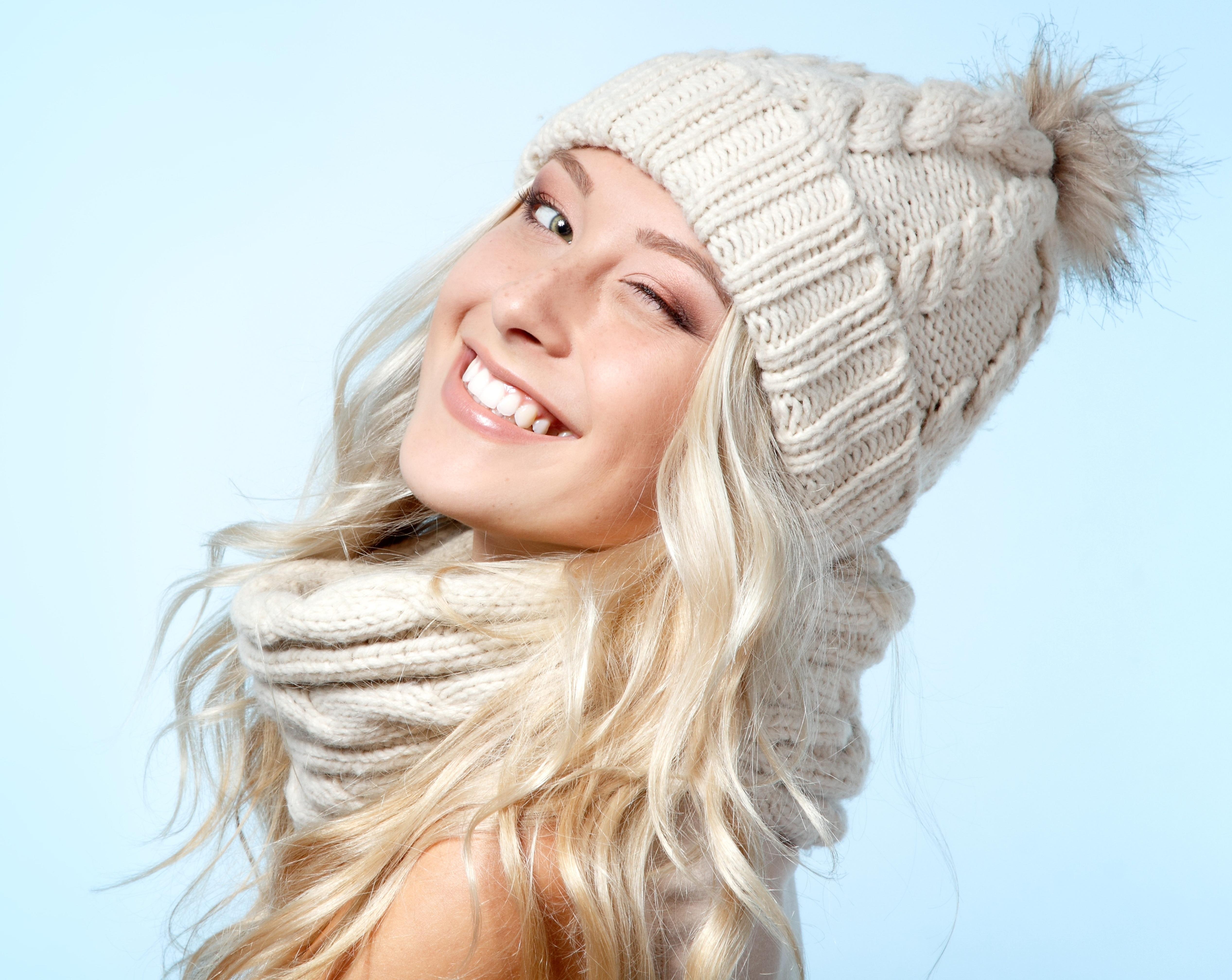 Hintergrundbilder Gesicht Blond Lange Haare Hut Winter