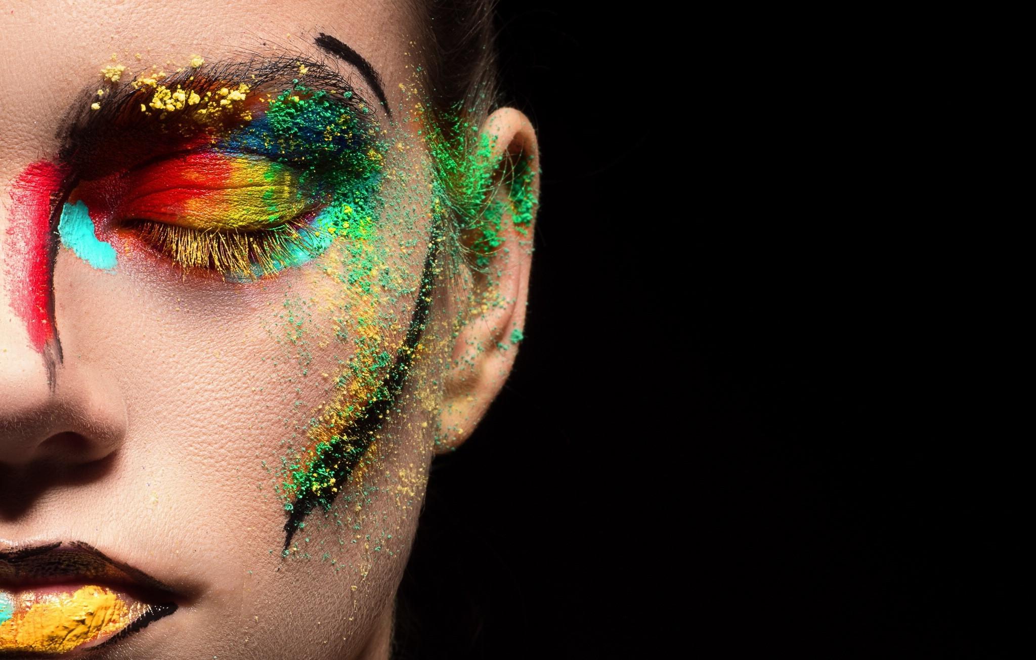 Wallpaper Face Colorful Women Model Portrait Black