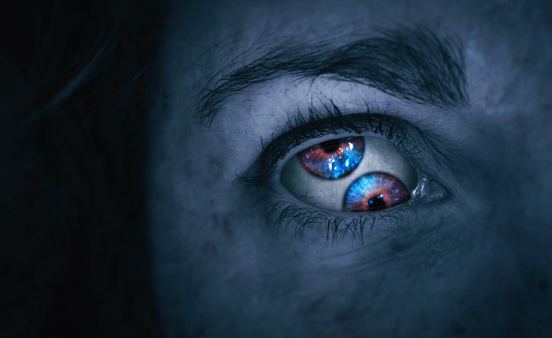Wallpaper Face Dark Halloween Blue Vision Emotion Terror Tool Iris Change Eyeball Eye Woman Mujer Darkness Monster Cara Fantasy